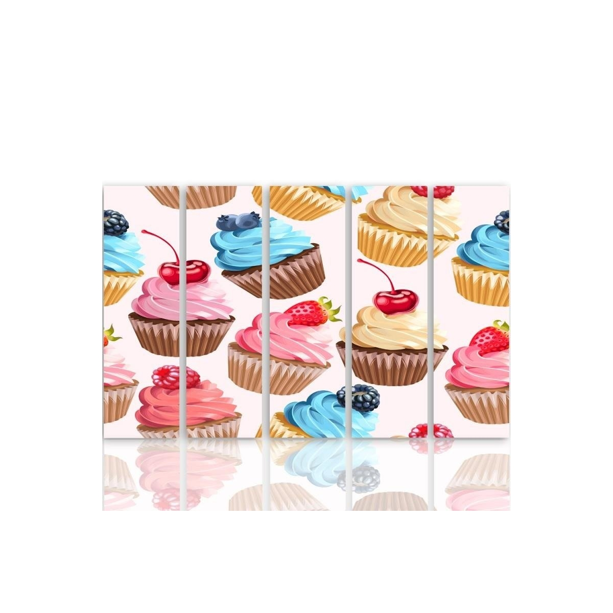 Five Part Picture On Canvas, Pentaptych, Type C, Muffins With Fruit100x150