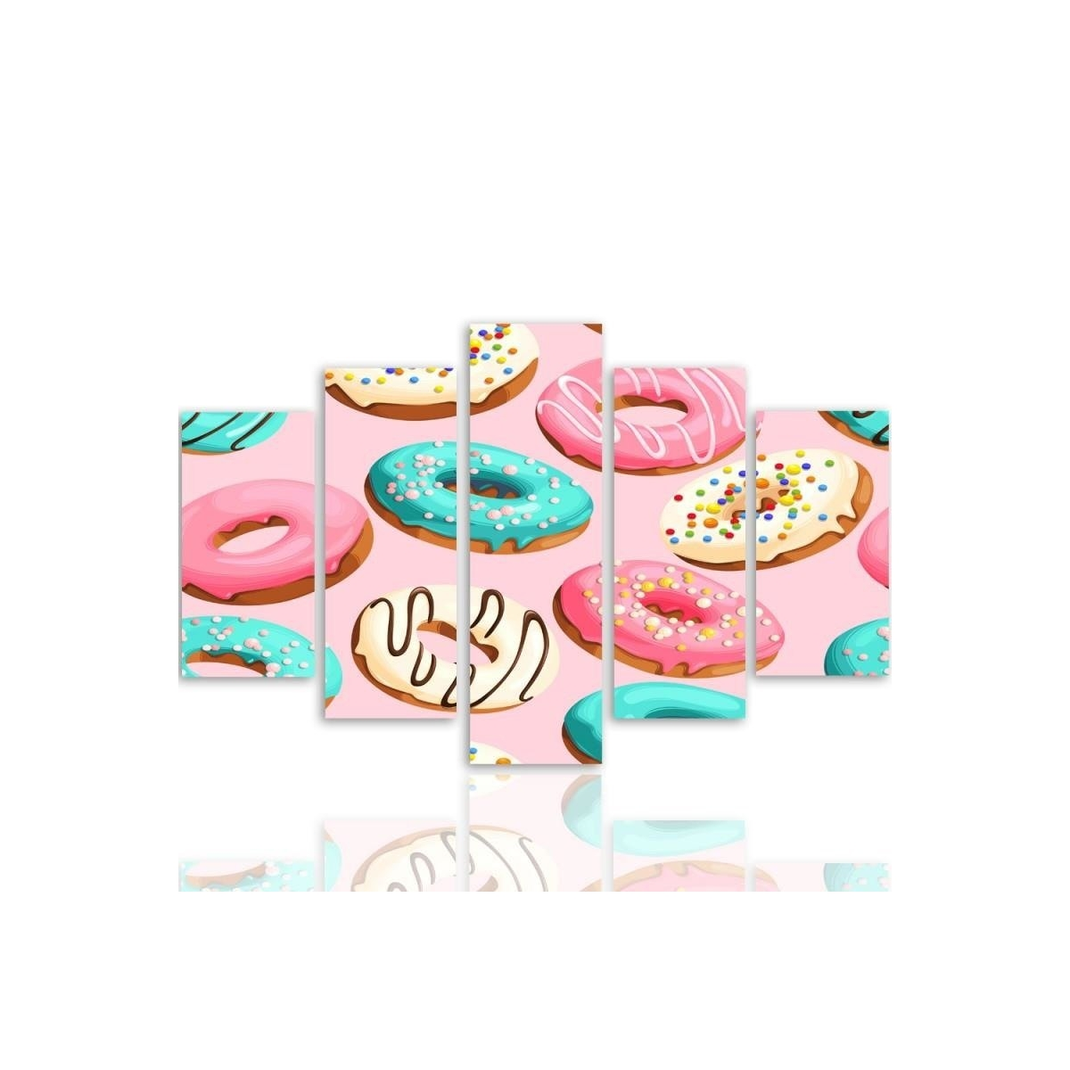Five Part Picture On Canvas, Pentaptych, Type A, Donuts 100x150