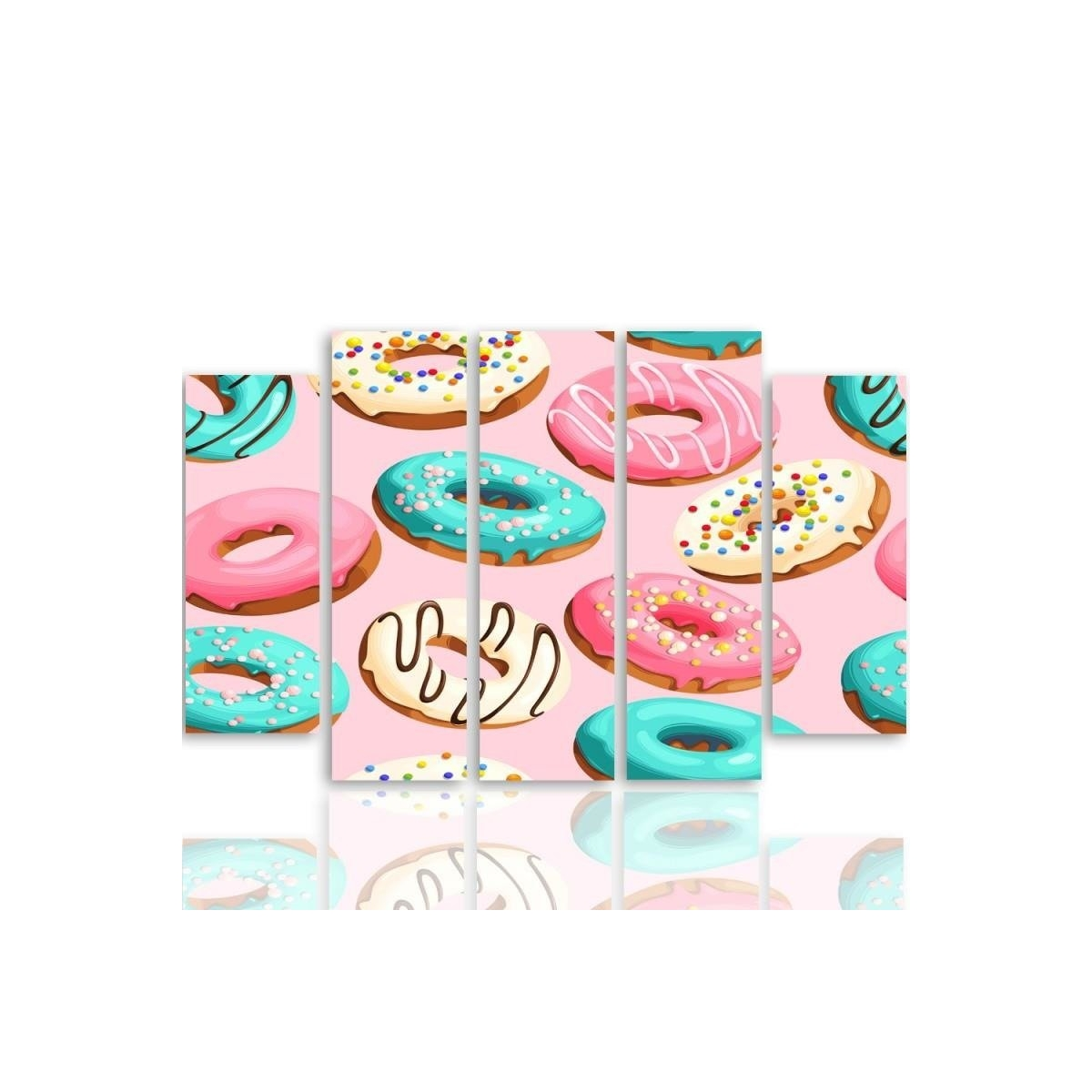 Five Part Picture On Canvas, Pentaptych, Type B, Donuts100x150