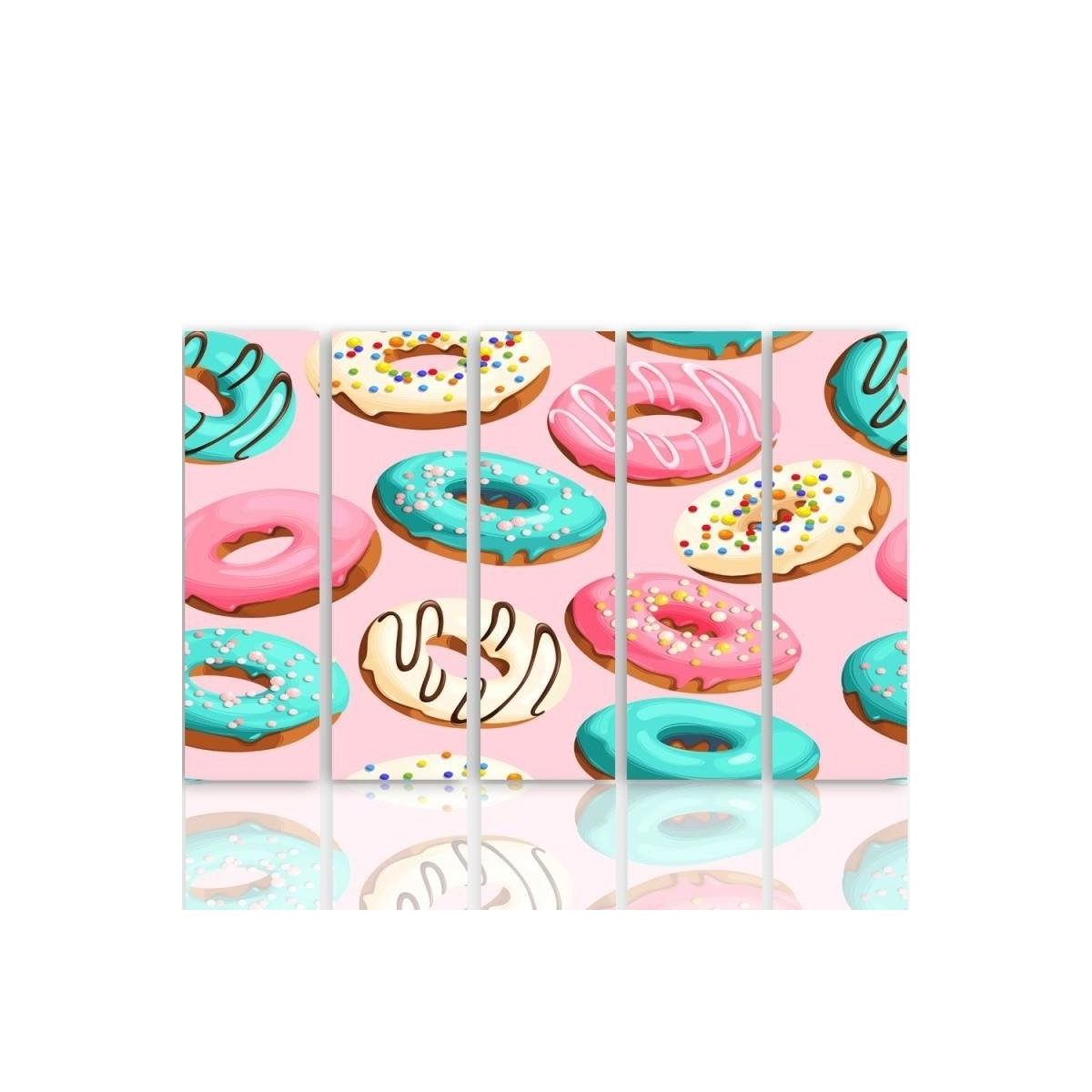 Five Part Picture On Canvas, Pentaptych, Type C, Donuts 100x150