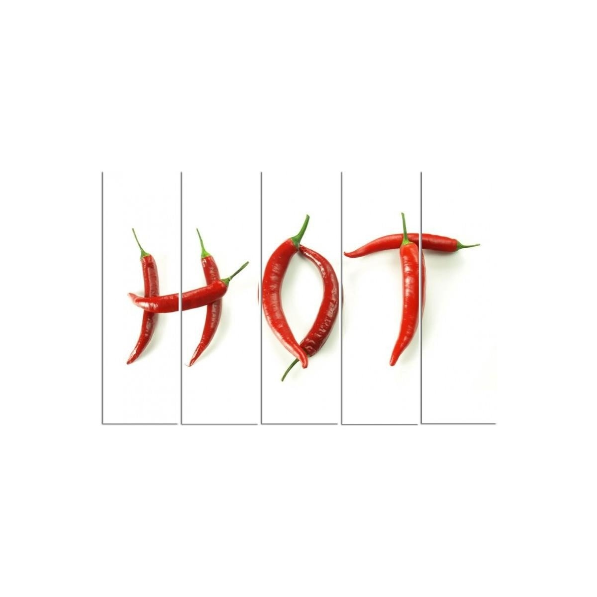 Five Part Picture On Canvas, Pentaptych, Type C, With The Inscription Hot Chili Peppers100x150