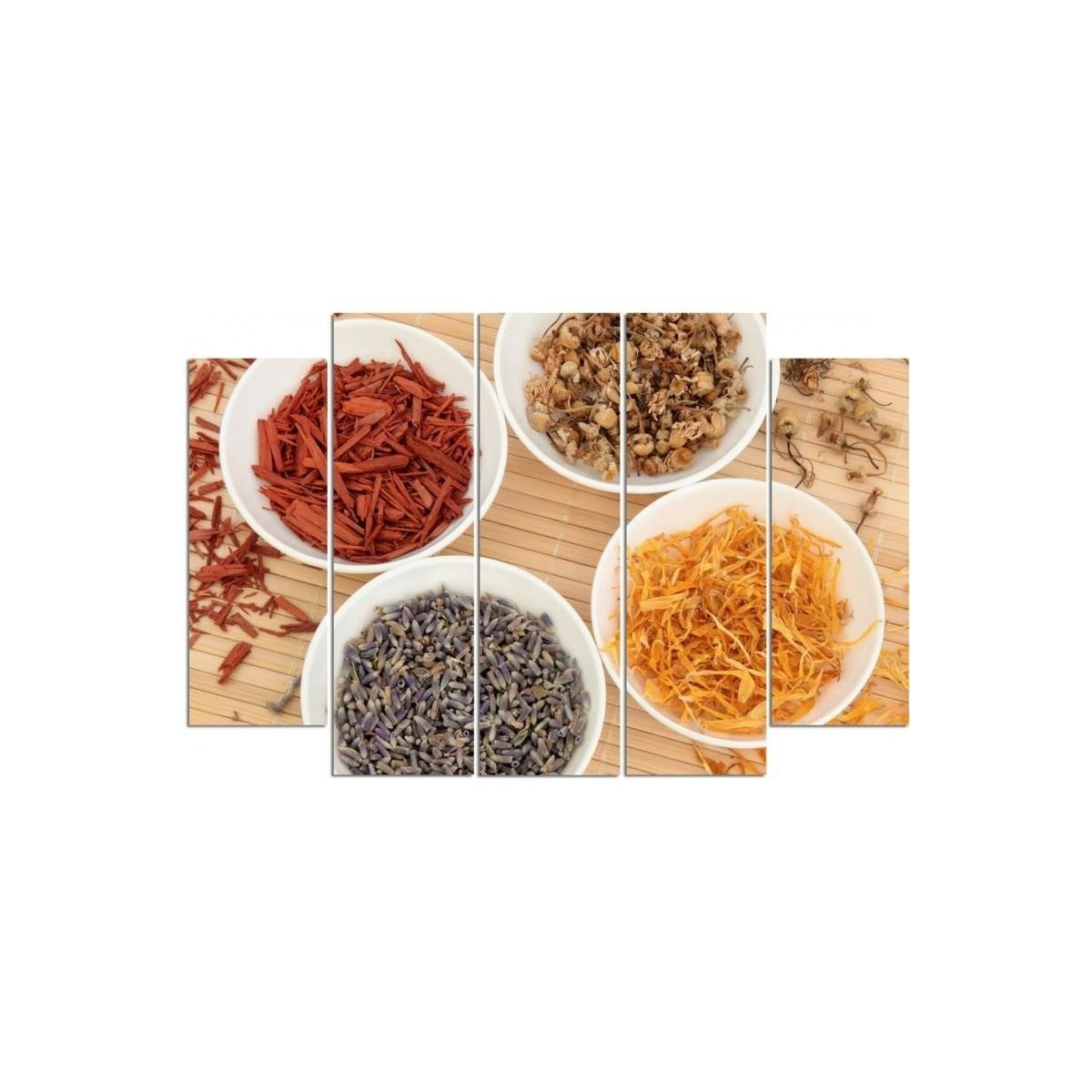 Five Part Picture On Canvas, Pentaptych, Type B, Spices In White Bowls100x150