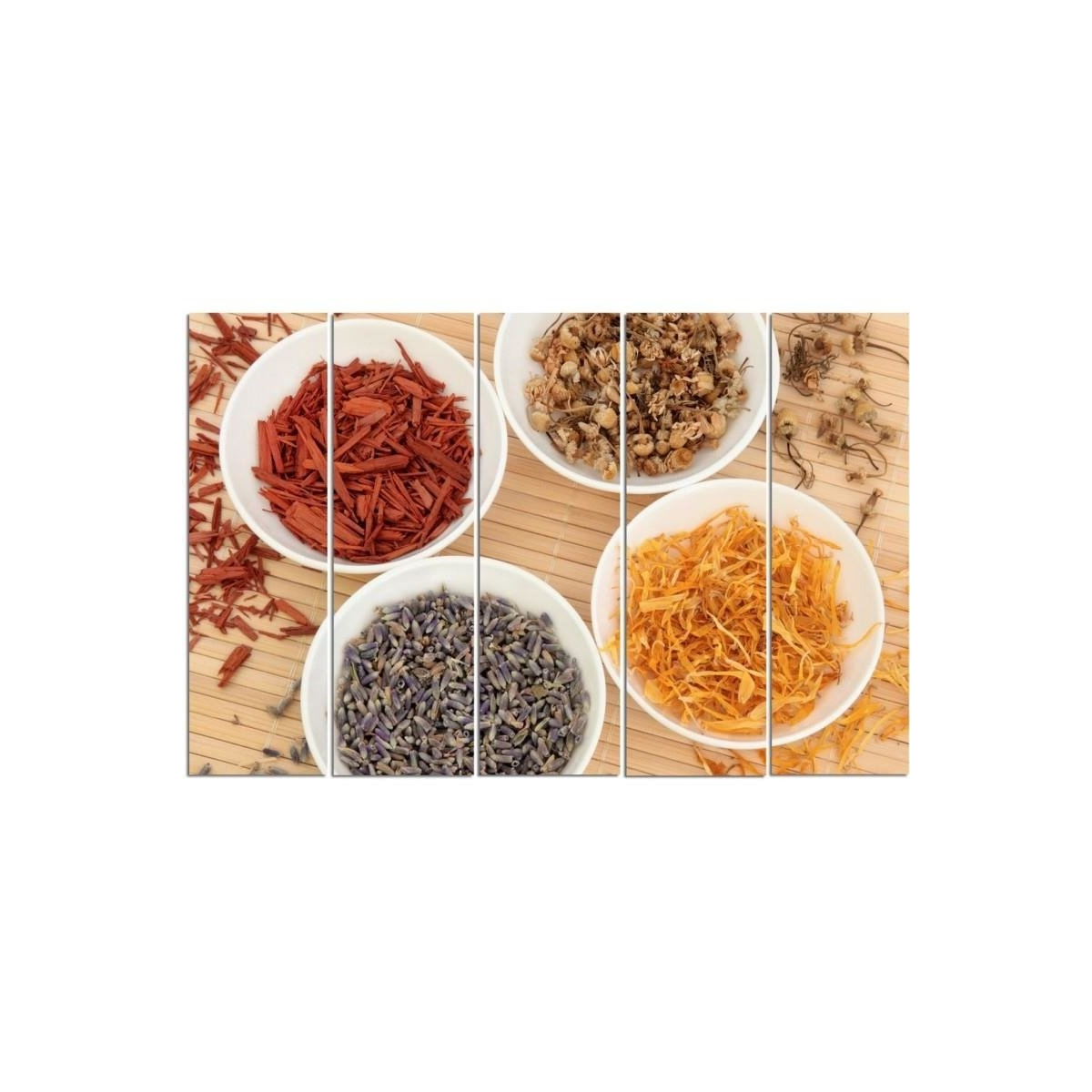 Five Part Picture On Canvas, Pentaptych, Type C, Spices In White Bowls100x150