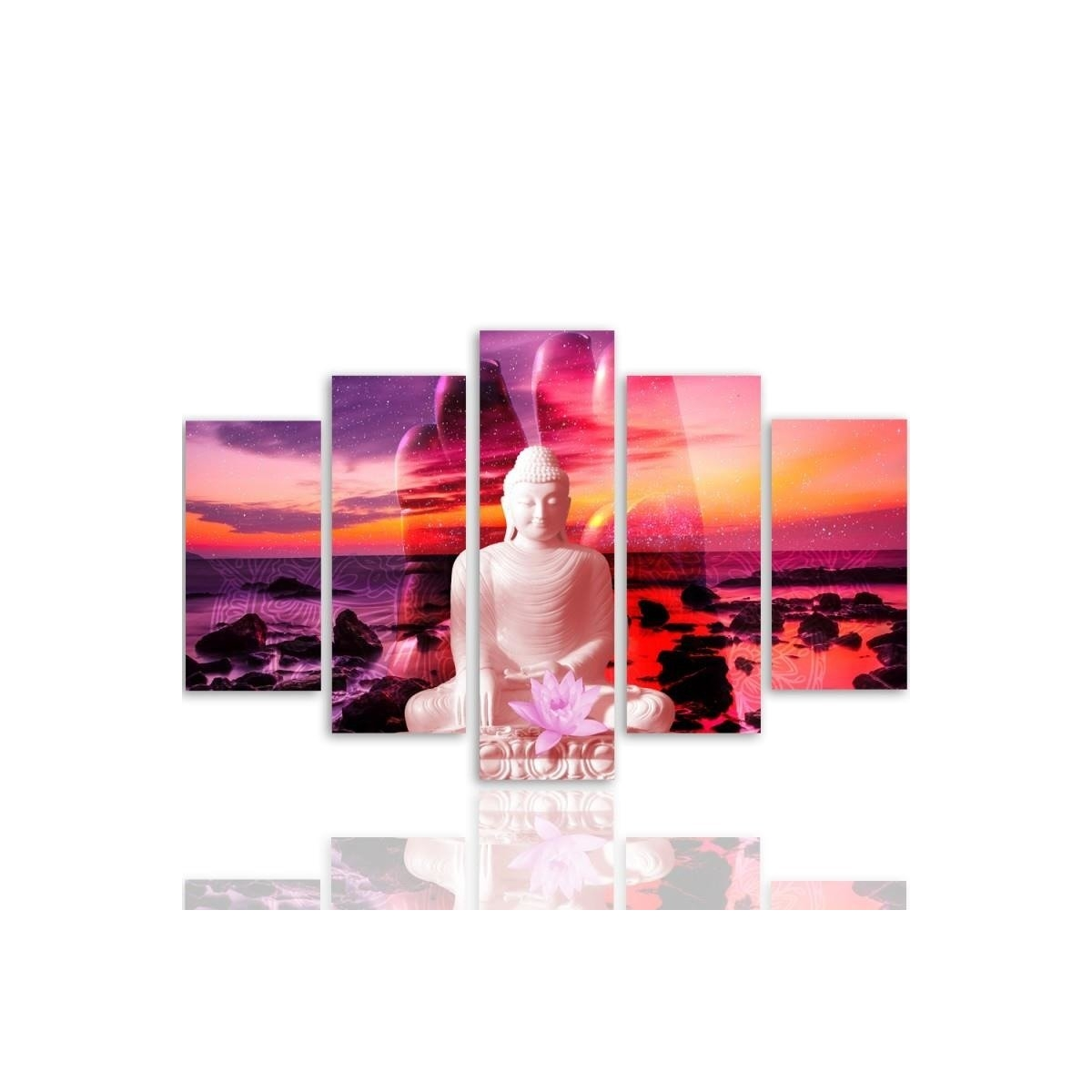 Five Part Picture On Canvas, Pentaptych, Type A, The Buddha On Background Of Ocean 100x150