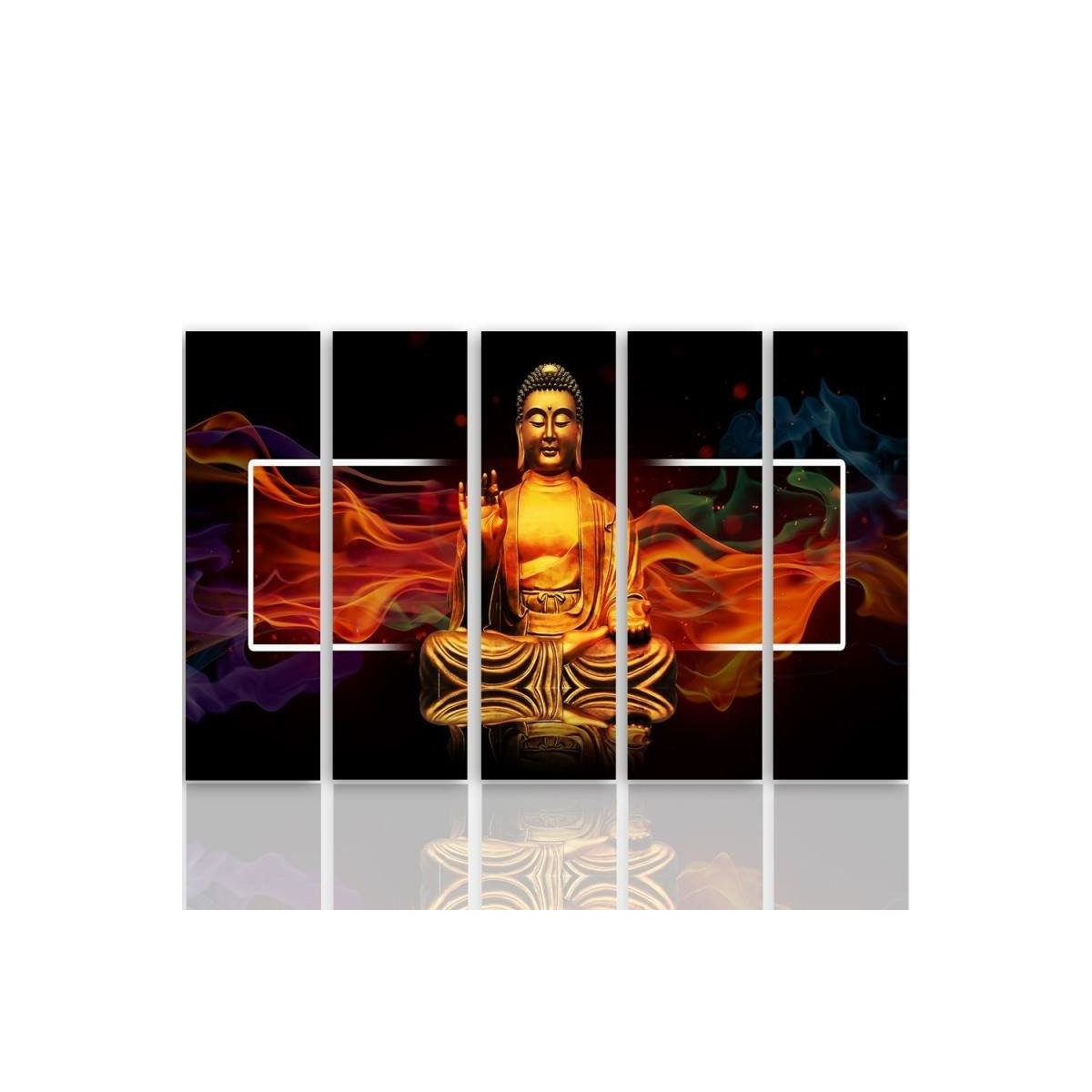 Five Part Picture On Canvas, Pentaptych, Type C, Golden Buddha 2100x150