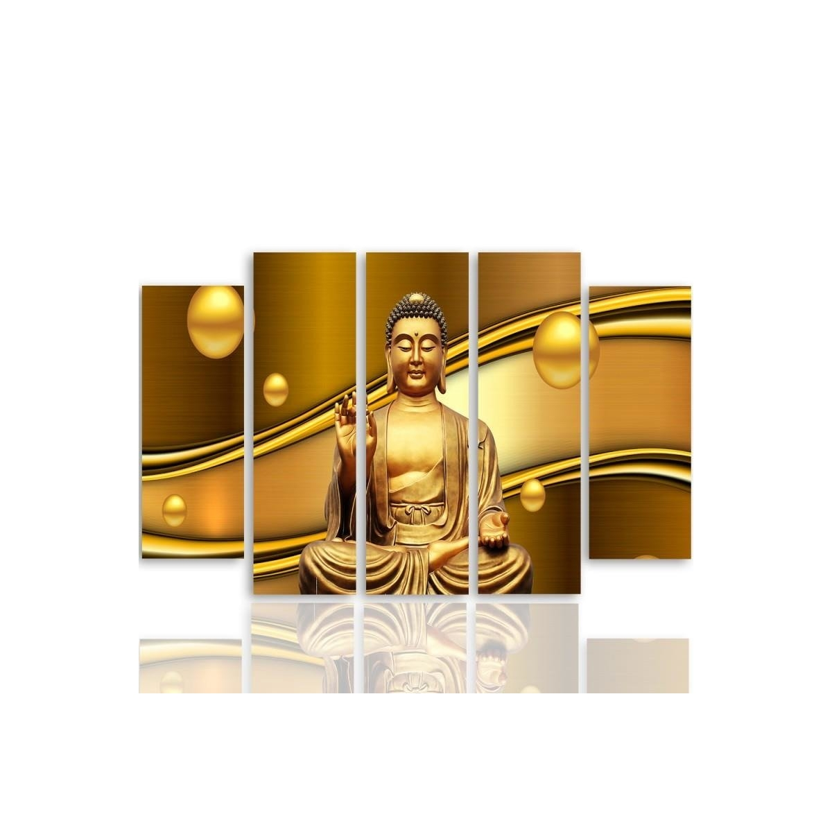 Five Part Picture On Canvas, Pentaptych, Type B, Golden Buddha100x150