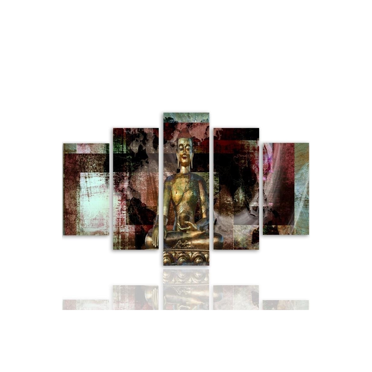 Five Part Picture On Canvas, Pentaptych, Type A, Golden Buddha 3100x150