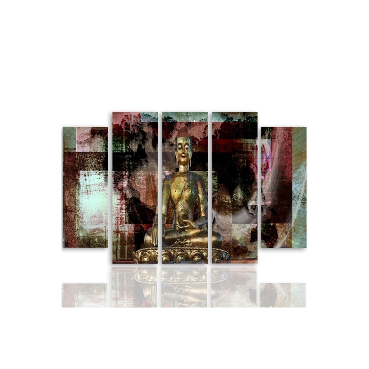 Five Part Picture On Canvas, Pentaptych, Type B, Golden Buddha 3100x150