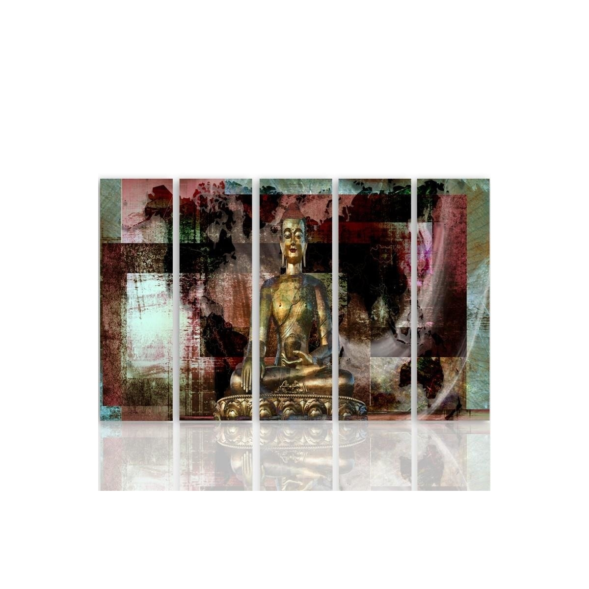 Five Part Picture On Canvas, Pentaptych, Type C, Golden Buddha 3100x150
