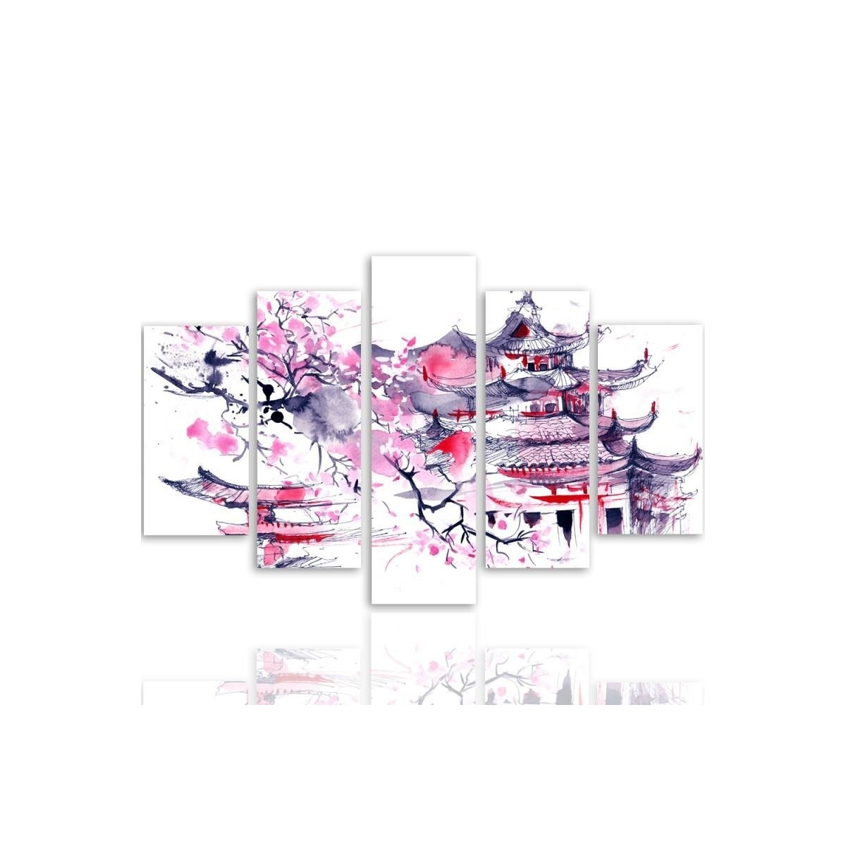 Five Part Picture On Canvas, Pentaptych, Type A, Japanese Landscape100x150