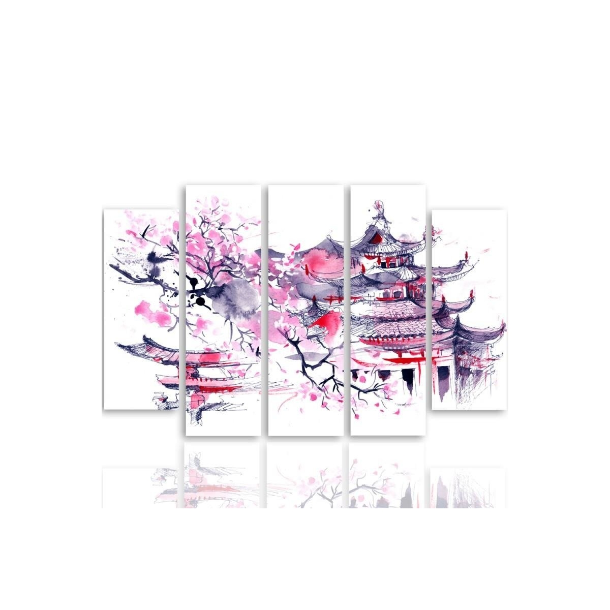 Five Part Picture On Canvas, Pentaptych, Type B, Japanese Landscape100x150