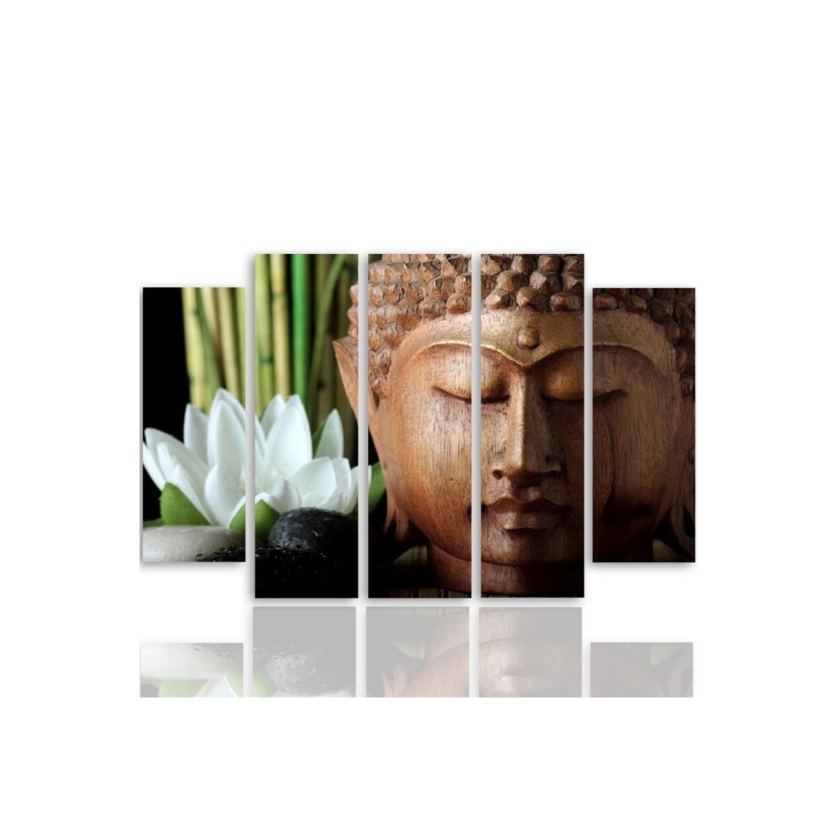 Five Part Picture On Canvas, Pentaptych, Type B, Buddha 3100x150