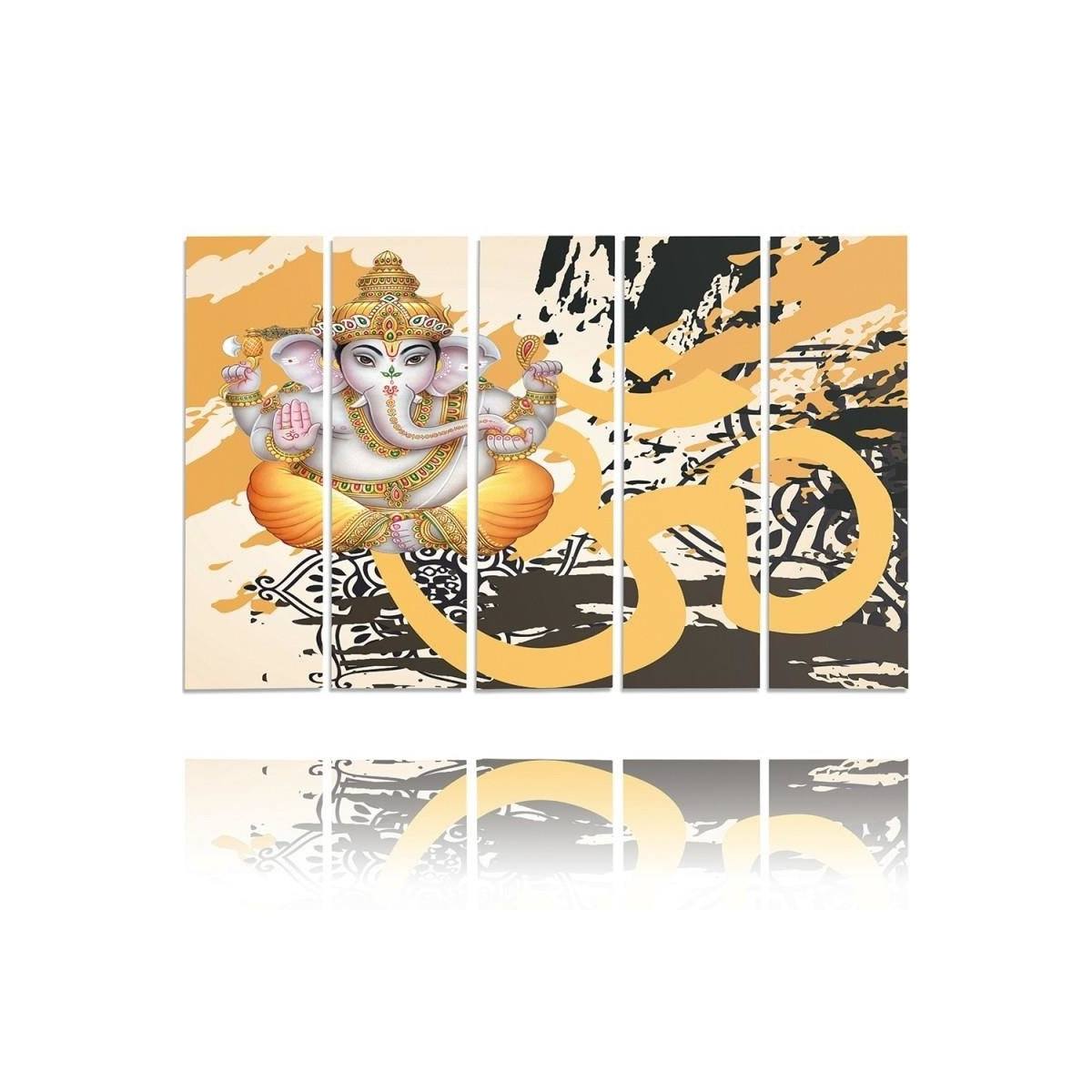 Five Part Picture On Canvas, Pentaptych, Type C, Buddha Elephant100x150