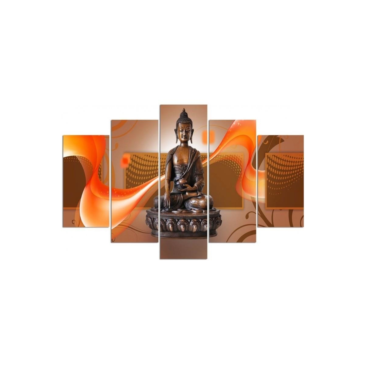 Five Part Picture On Canvas, Pentaptych, Type A, Bronze Buddha100x150