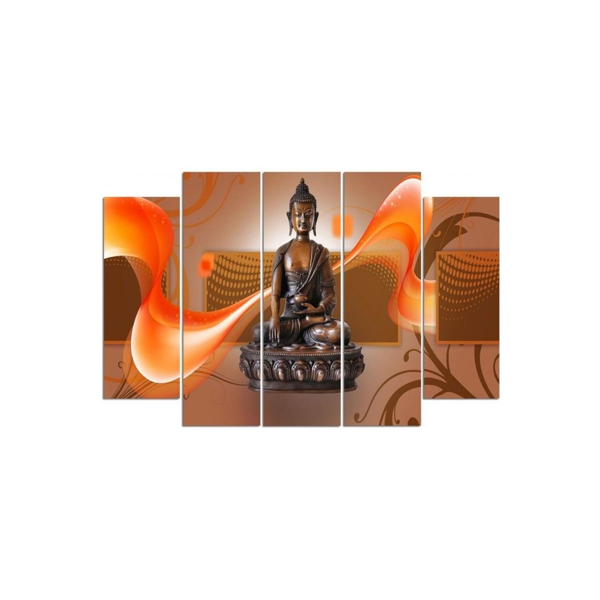 Five Part Picture On Canvas, Pentaptych, Type B, Bronze Buddha100x150