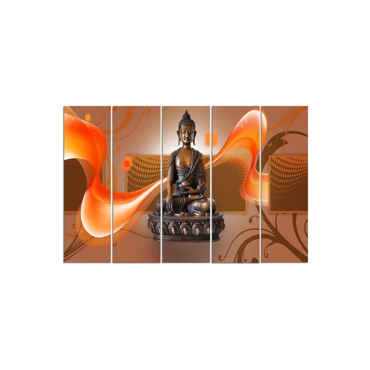 Five Part Picture On Canvas, Pentaptych, Type C, Bronze Buddha 100x150
