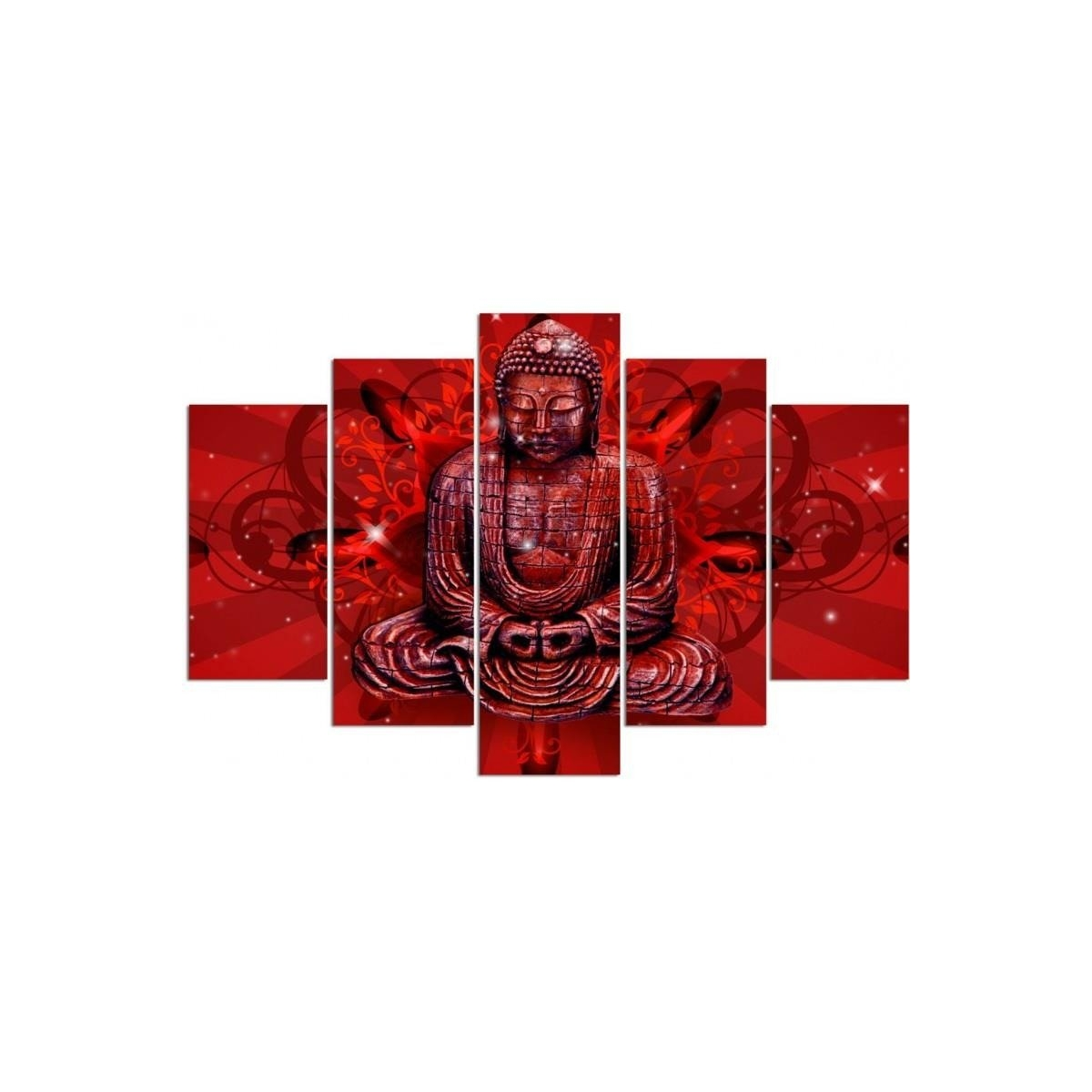 Five Part Picture On Canvas, Pentaptych, Type A, The Buddha In Red100x150