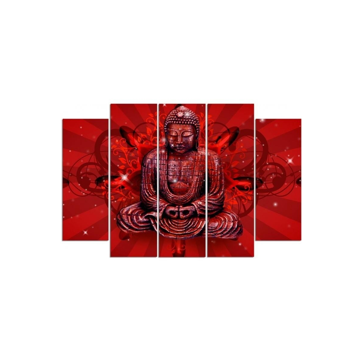 Five Part Picture On Canvas, Pentaptych, Type B, The Buddha In Red100x150