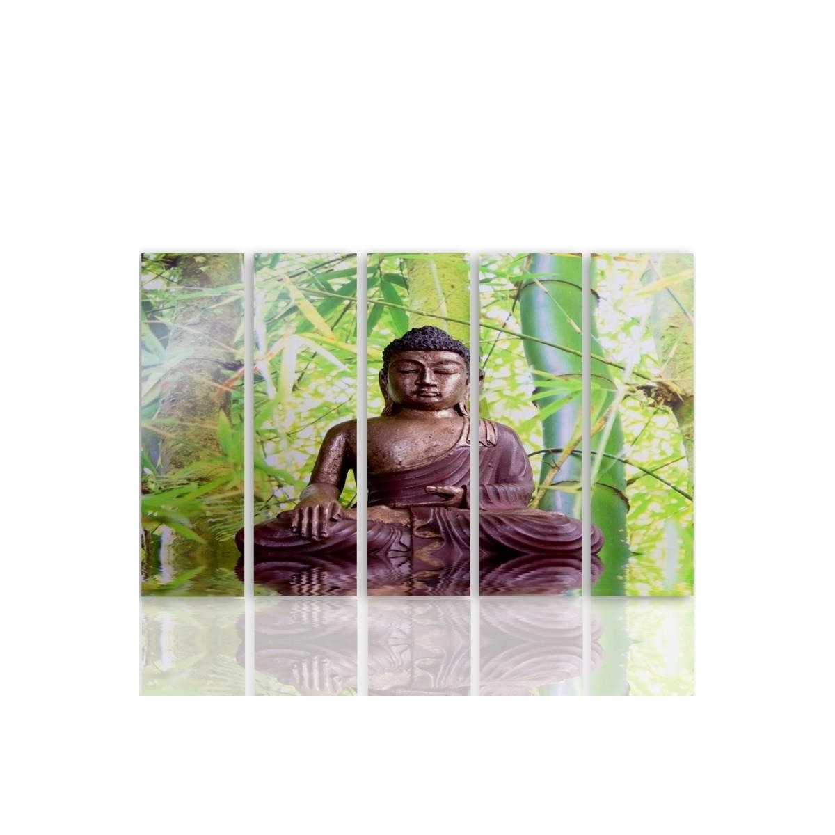 Five Part Picture On Canvas, Pentaptych, Type C, The Buddha On The Background Of Bamboo100x150