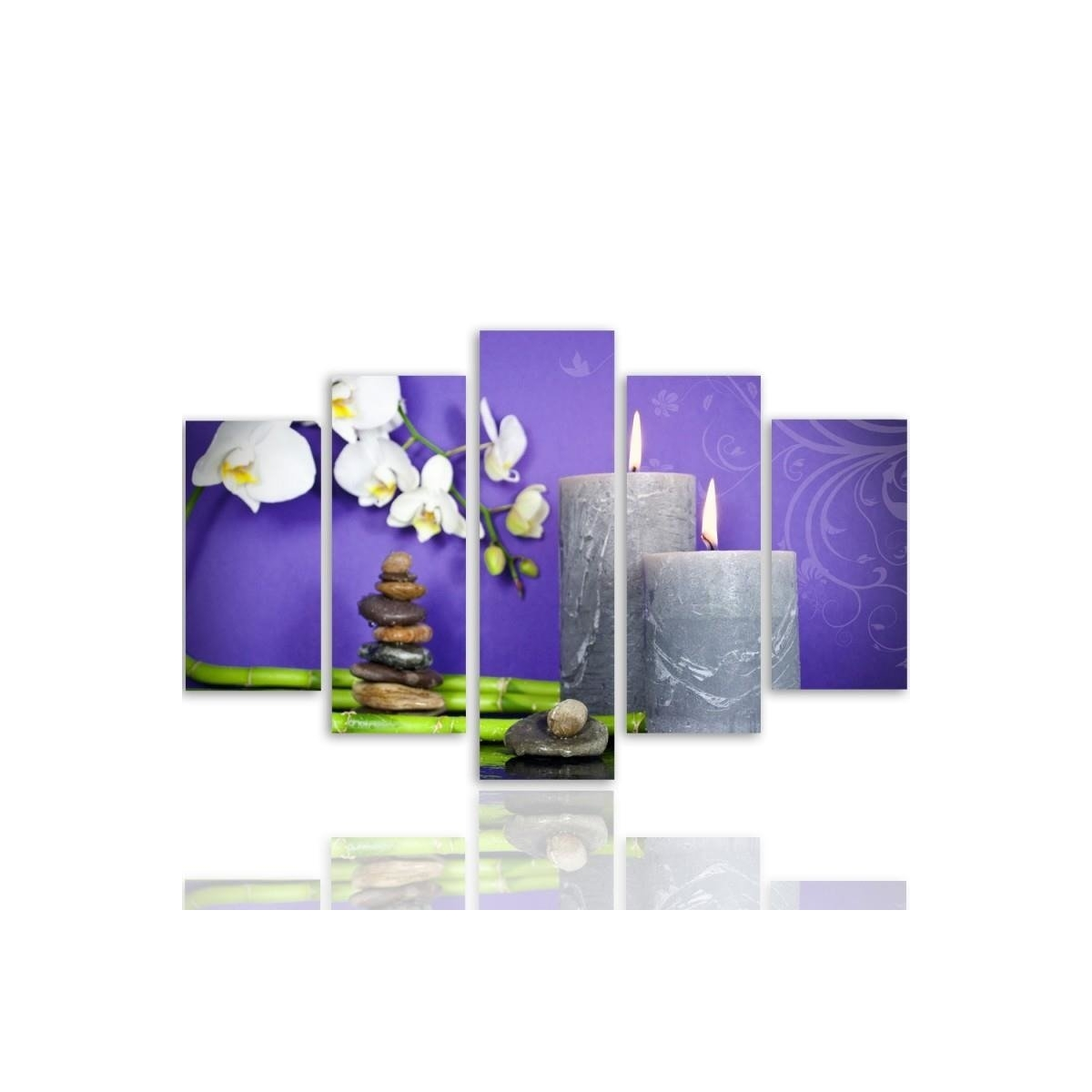 Five Part Picture On Canvas, Pentaptych, Type A, Composition Zen 7100x150