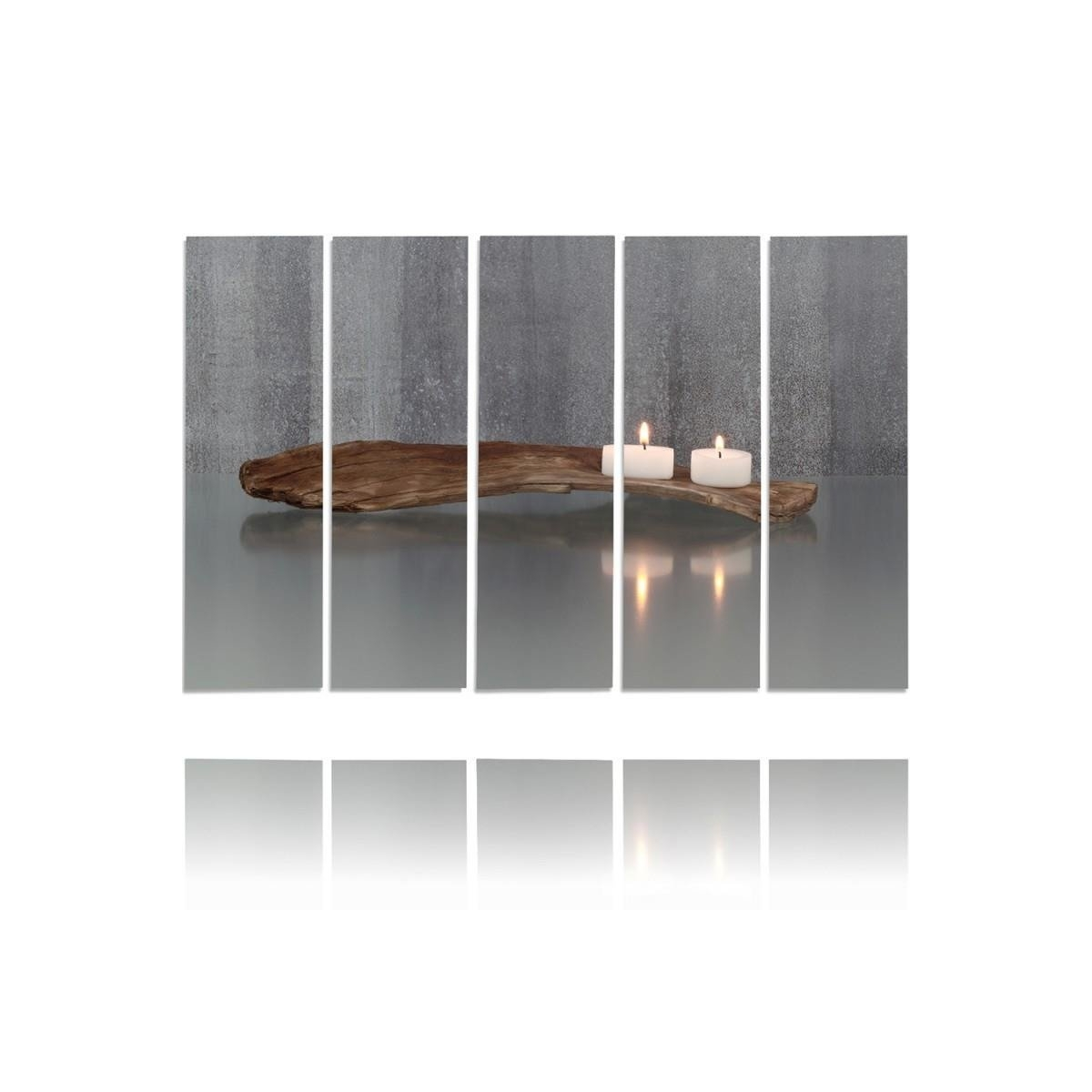 Five Part Picture On Canvas, Pentaptych, Type C, Candles100x150
