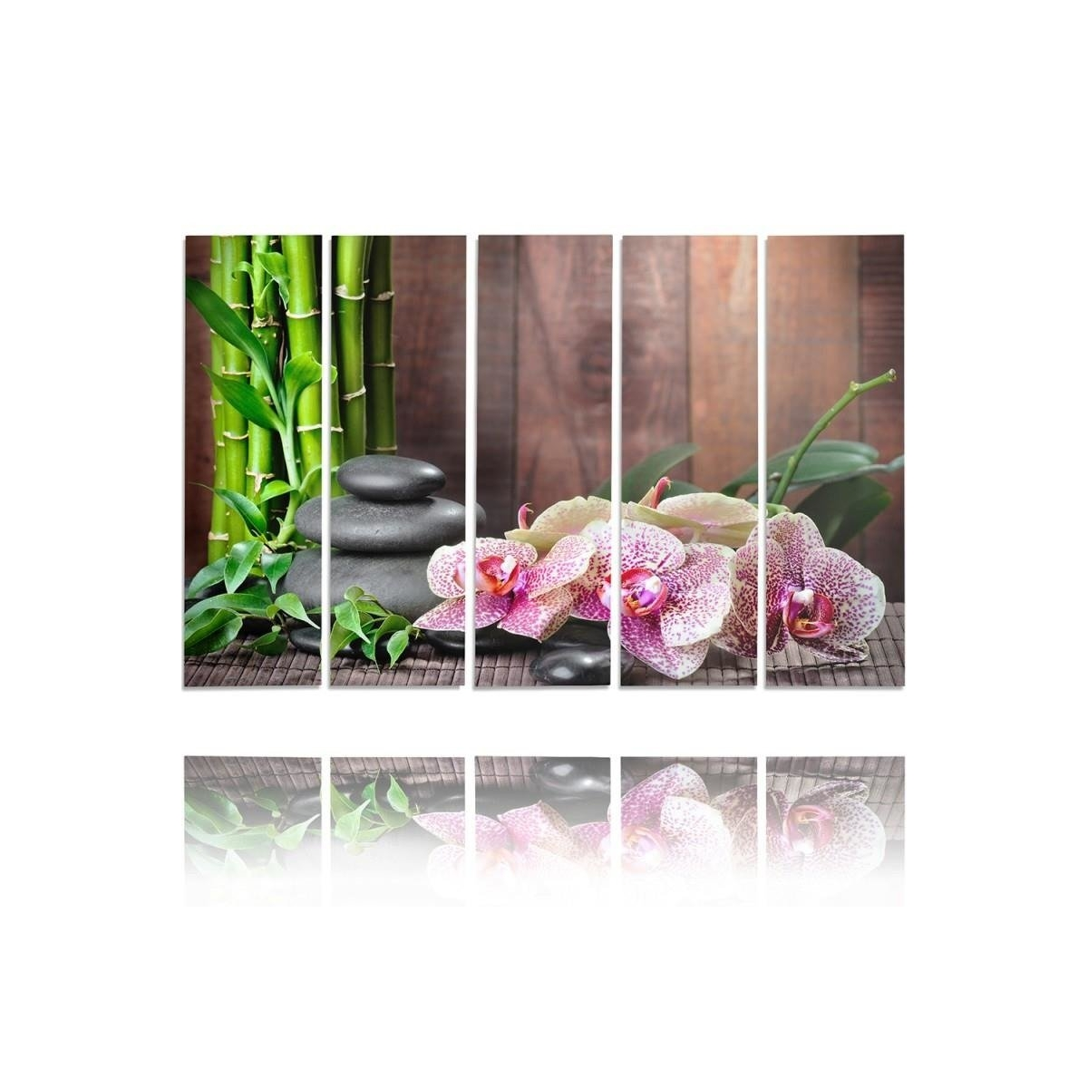 Five Part Picture On Canvas, Pentaptych, Type C, Orchid Speckled100x150