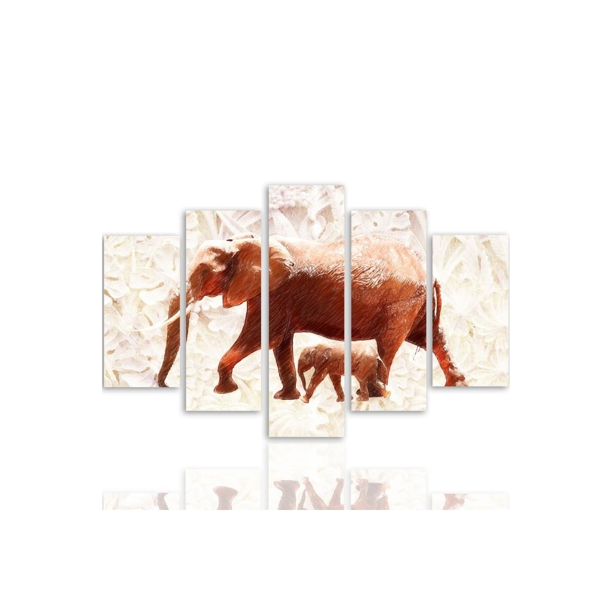 Five Part Picture On Canvas, Pentaptych, Type A, The Elephant With Her Calf 100x150