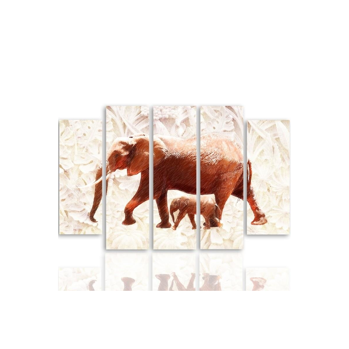 Five Part Picture On Canvas, Pentaptych, Type B, The Elephant With Her Calf 100x150