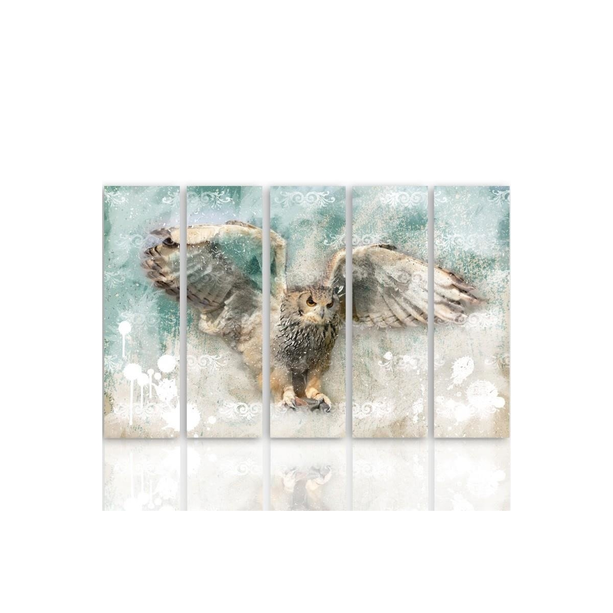 Five Part Picture On Canvas, Pentaptych, Type C, Owl In Flight 100x150