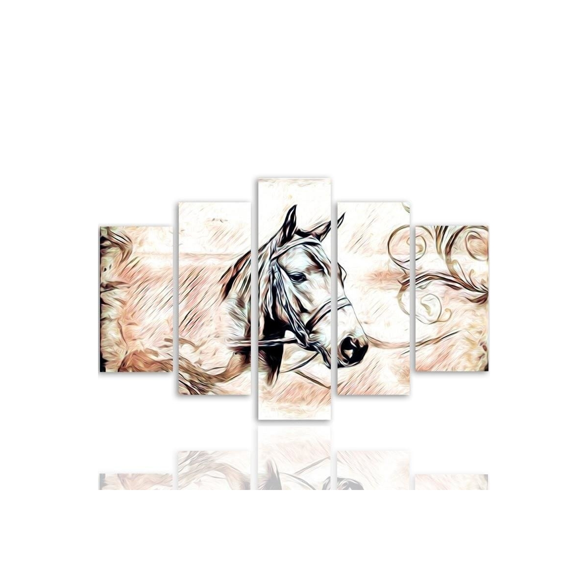 Five Part Picture On Canvas, Pentaptych, Type A, Horse Head 3 100x150