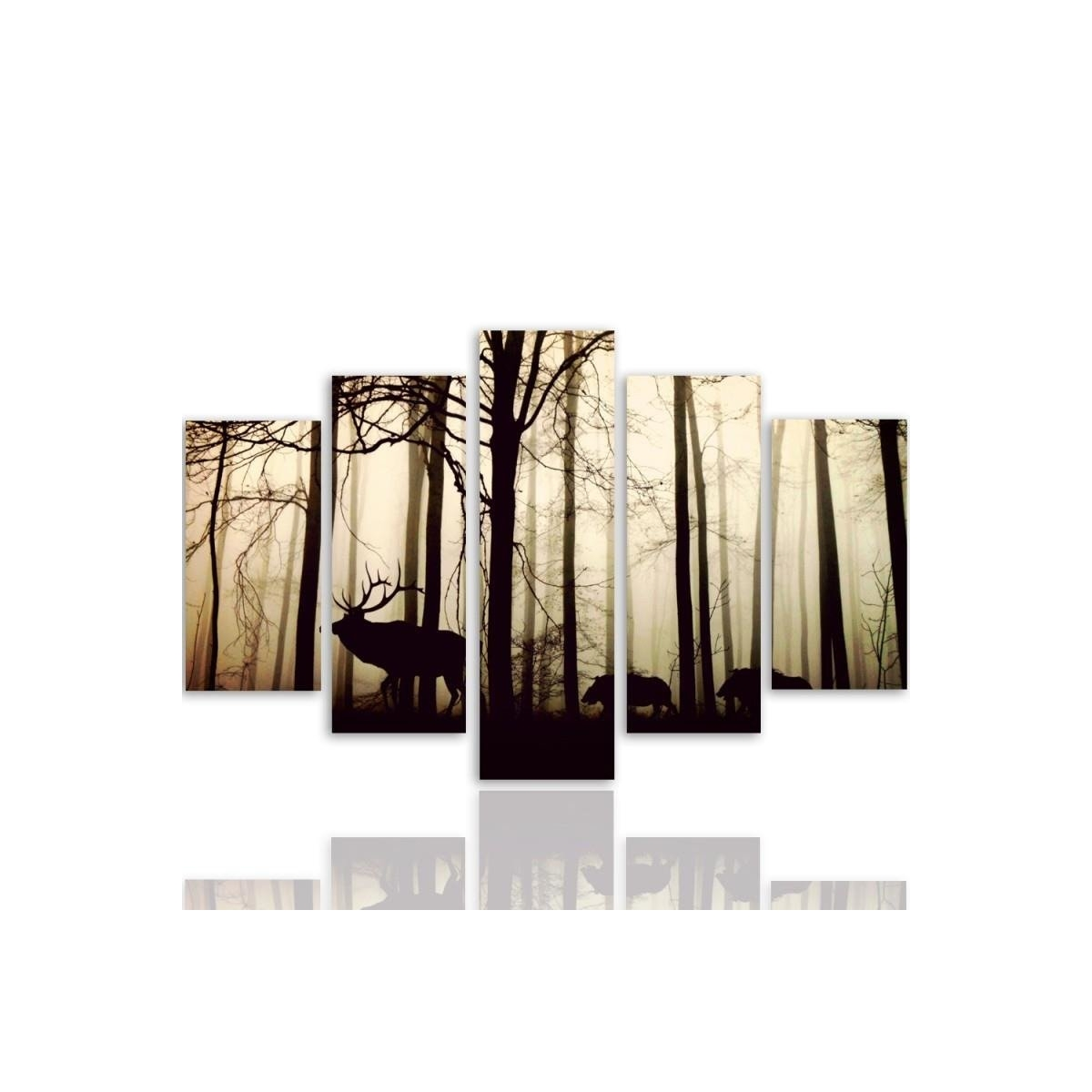 Five Part Picture On Canvas, Pentaptych, Type A, Animals In The Forest 100x150