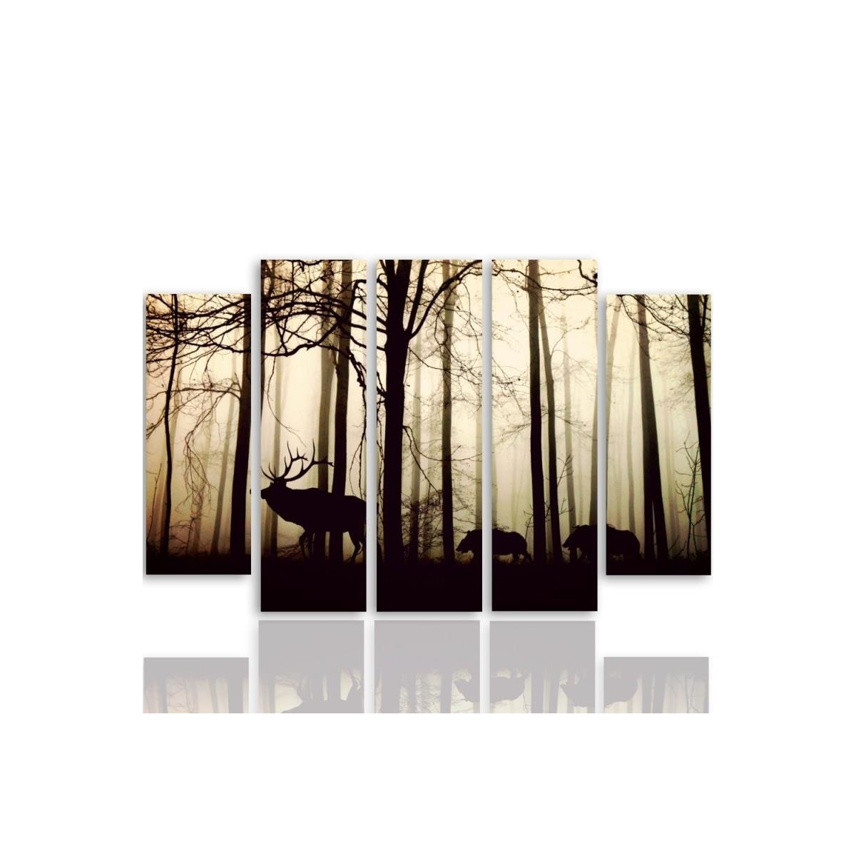 Five Part Picture On Canvas, Pentaptych, Type B, Animals In The Forest 100x150