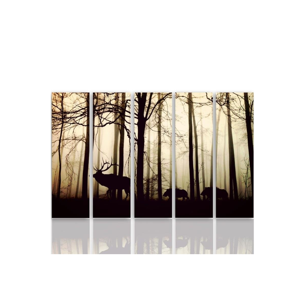 Five Part Picture On Canvas, Pentaptych, Type C, Animals In The Forest 100x150