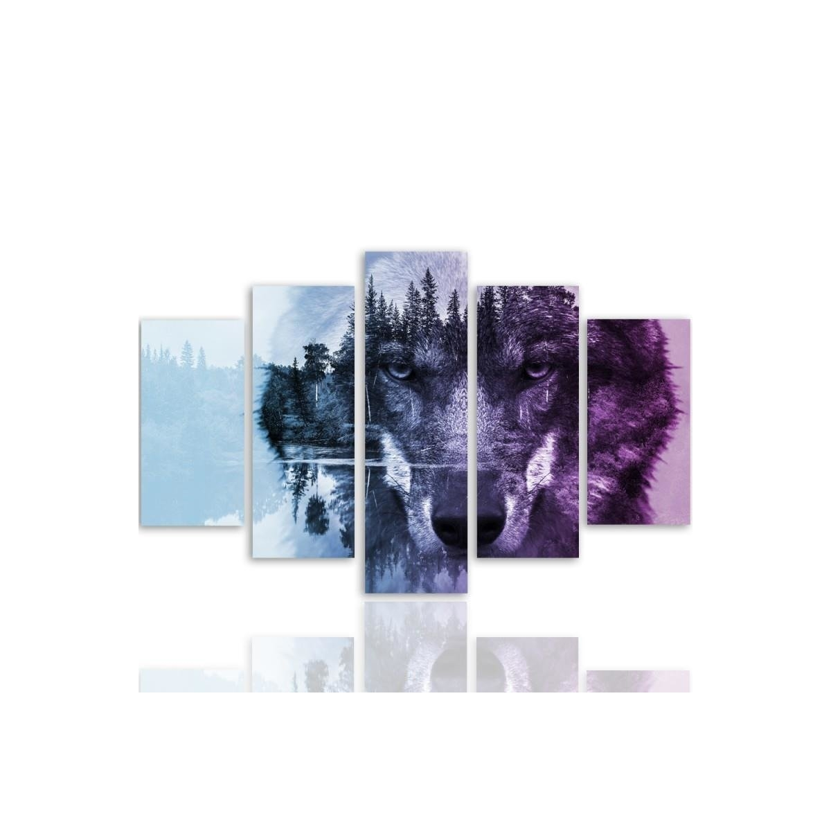 Five Part Picture On Canvas, Pentaptych, Type A, Wolf On The Forest Background - Purple 100x150