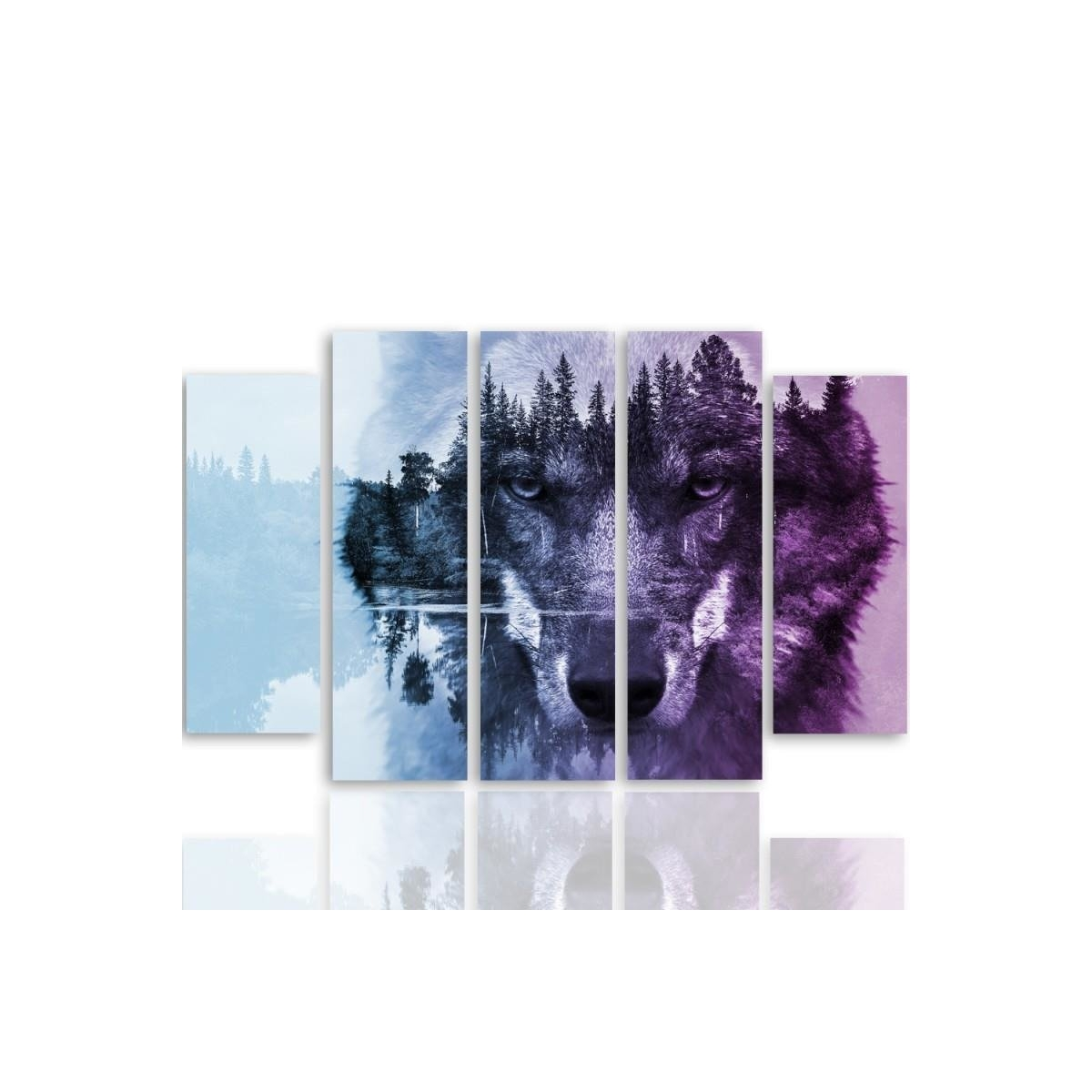 Five Part Picture On Canvas, Pentaptych, Type B, Wolf On The Forest Background - Purple 100x150