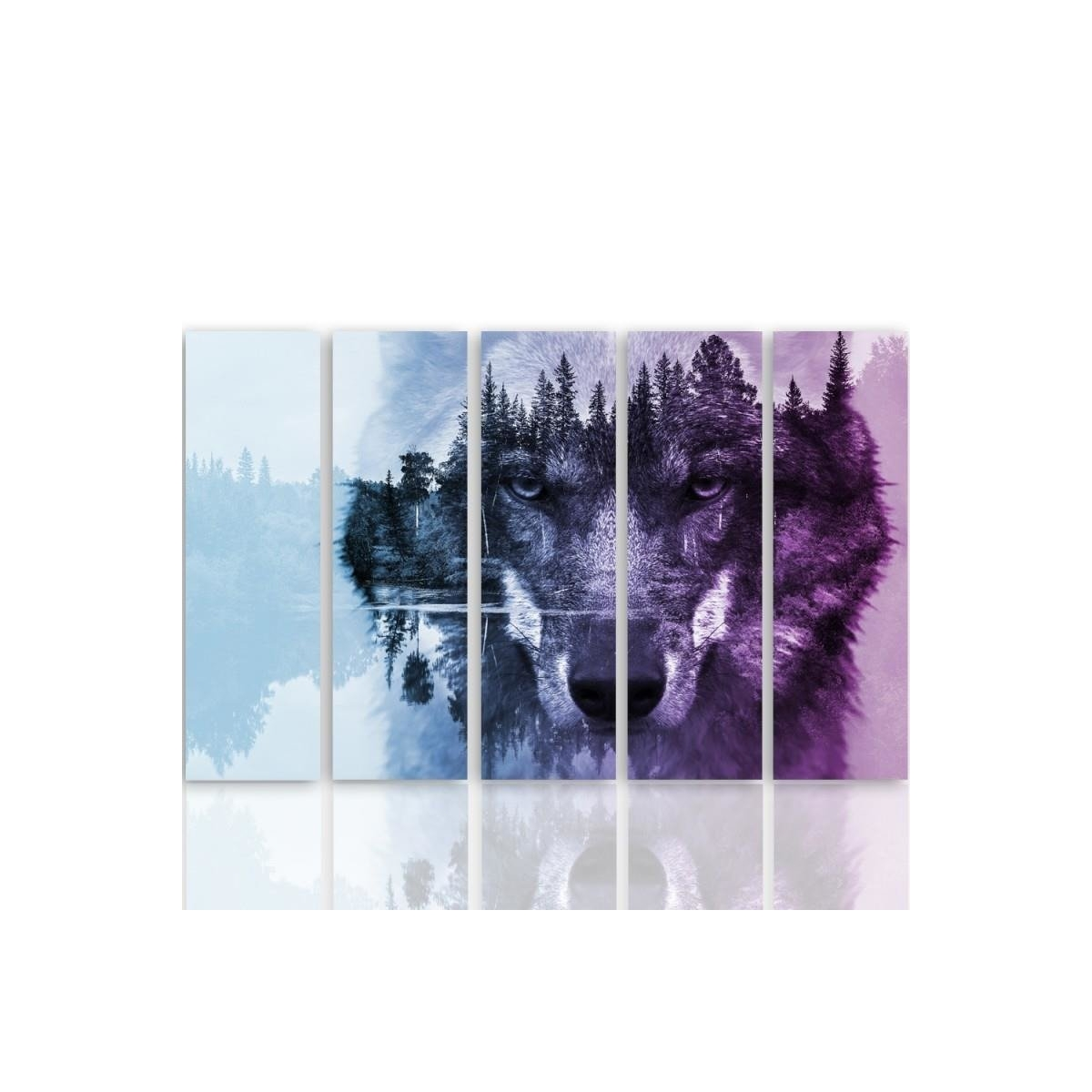 Five Part Picture On Canvas, Pentaptych, Type C, Wolf On The Forest Background - Purple 100x150