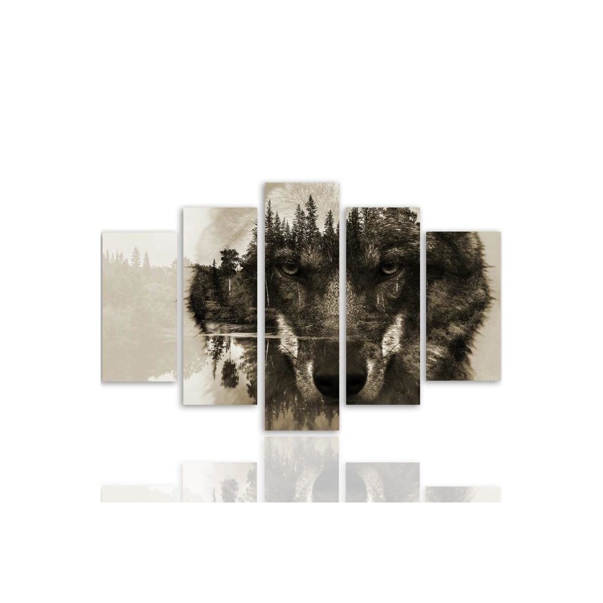 Five Part Picture On Canvas, Pentaptych, Type A, Wolf On A Background Of Forest - Brown 100x150