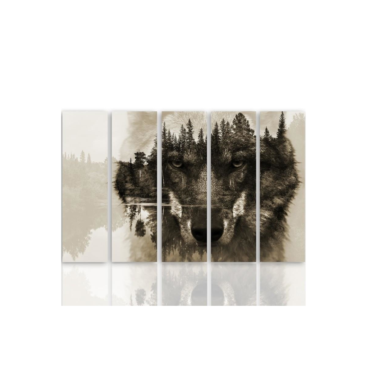Five Part Picture On Canvas, Pentaptych, Type C, The Wolf Forest Background - Brown 100x150