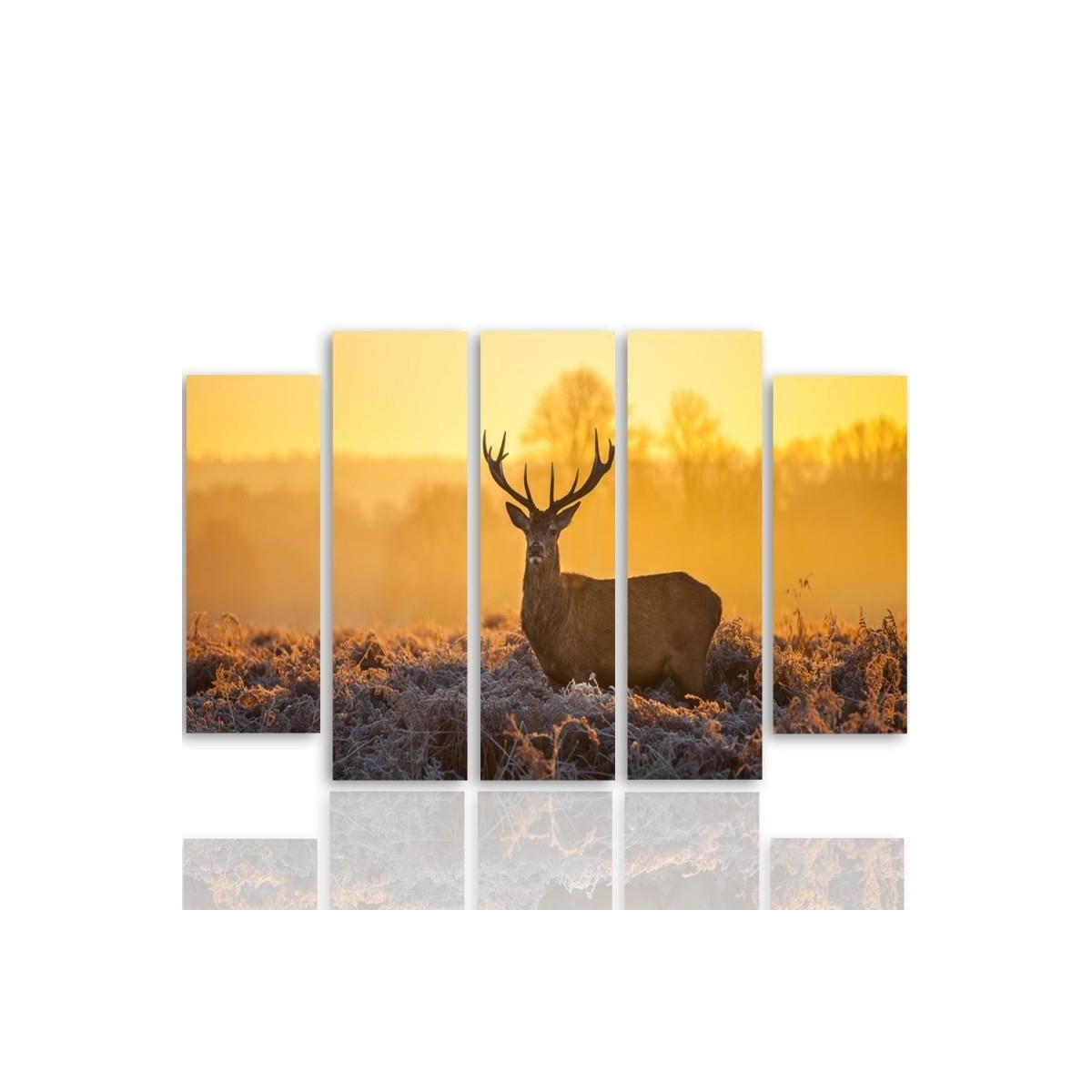 Five Part Picture On Canvas, Pentaptych, Type B, Deer Sunset 2 100x150