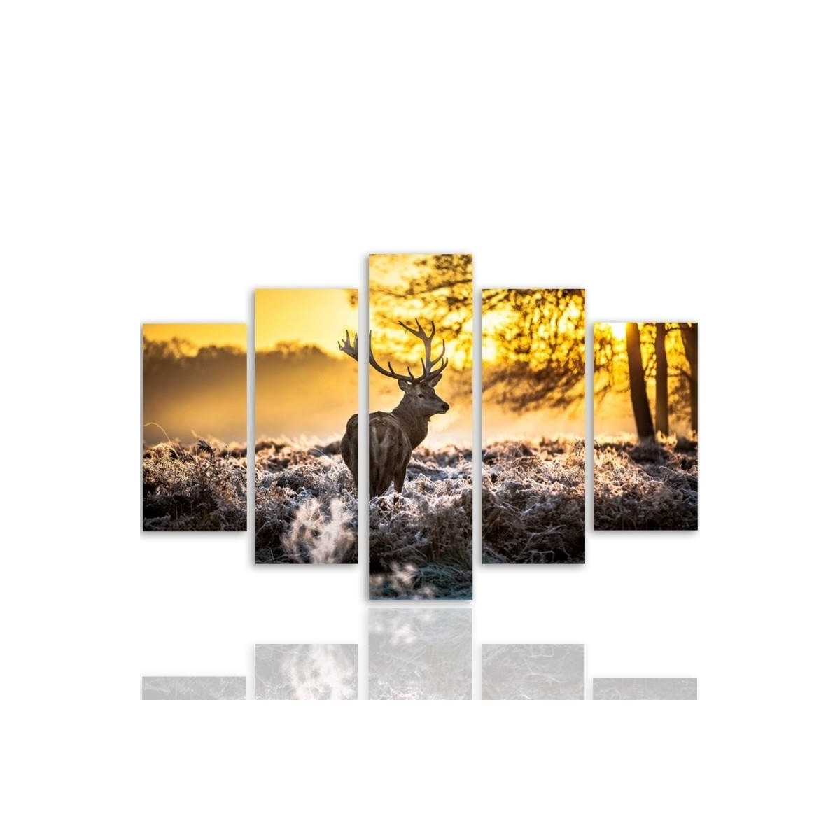 Five Part Picture On Canvas, Pentaptych, Type A, Deer At Sunset 100x150