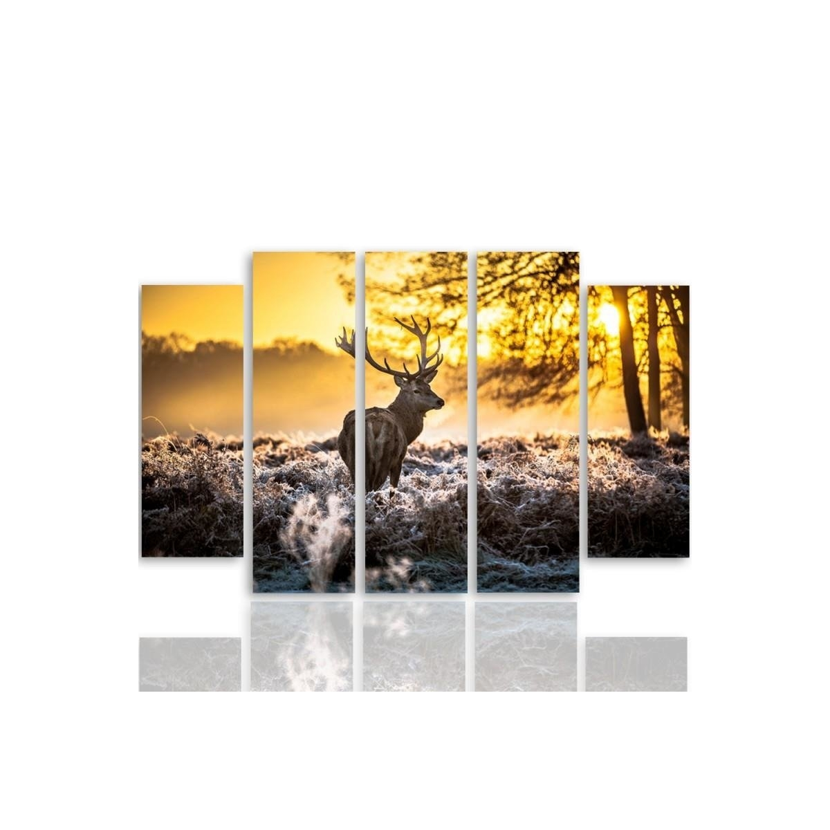 Five Part Picture On Canvas, Pentaptych, Type B, Deer Sunset 100x150