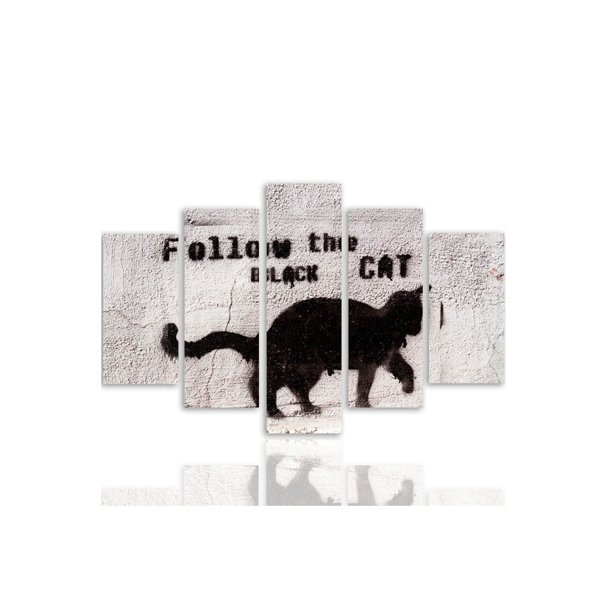 Five Part Picture On Canvas, Pentaptych, Type A, Black Cat 100x150