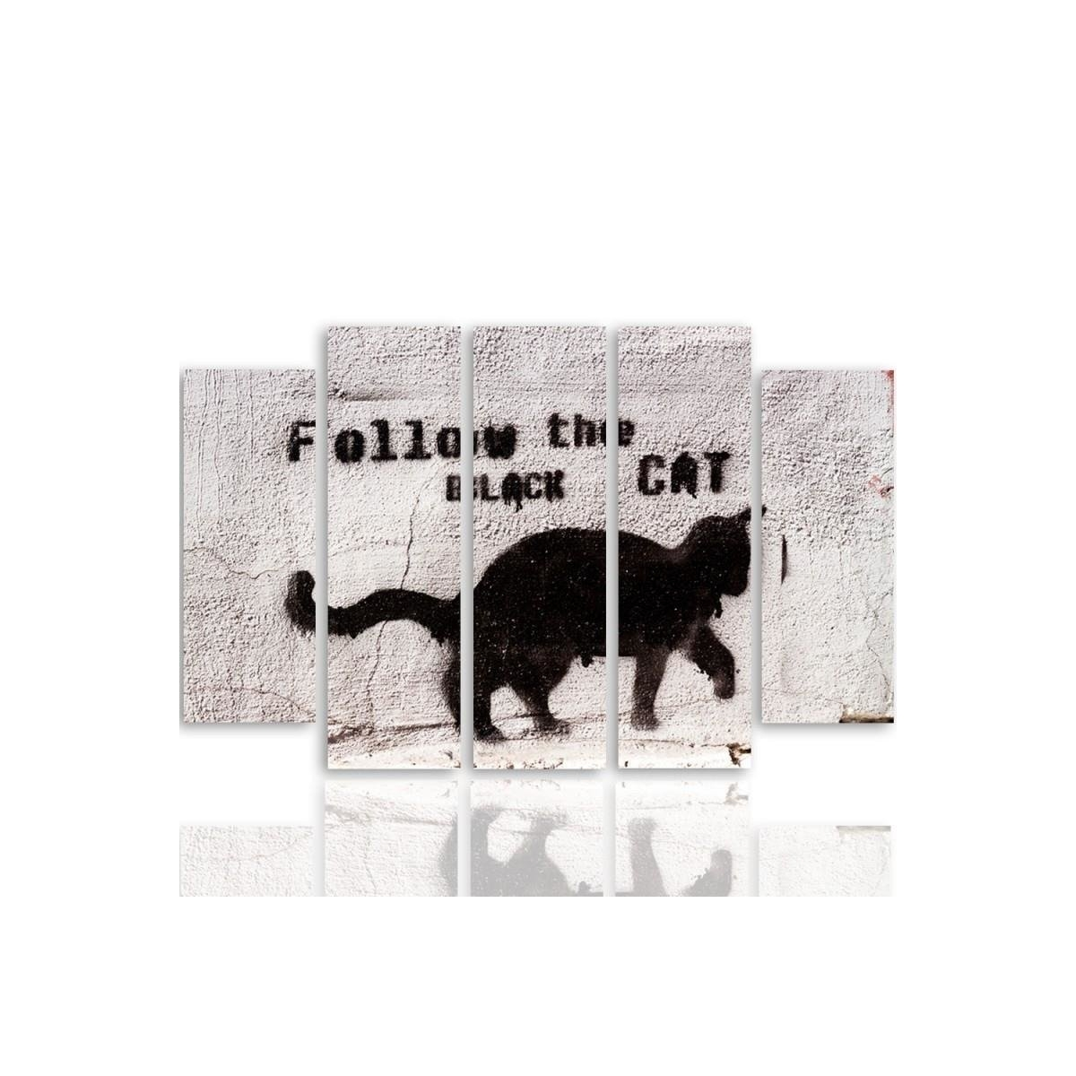 Five Part Picture On Canvas, Pentaptych, Type B, Black Cat 100x150