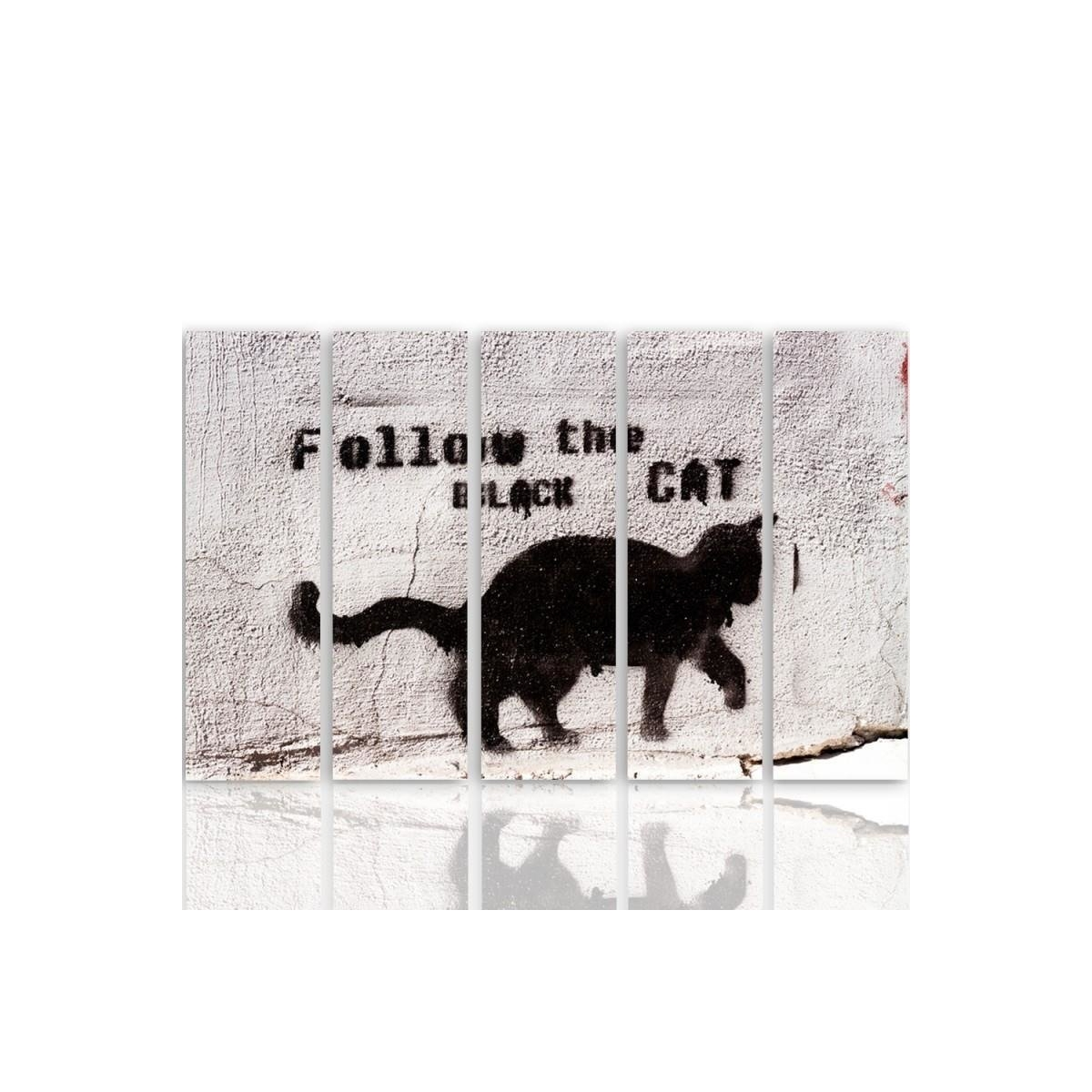 Five Part Picture On Canvas, Pentaptych, Type C, Black Cat 100x150