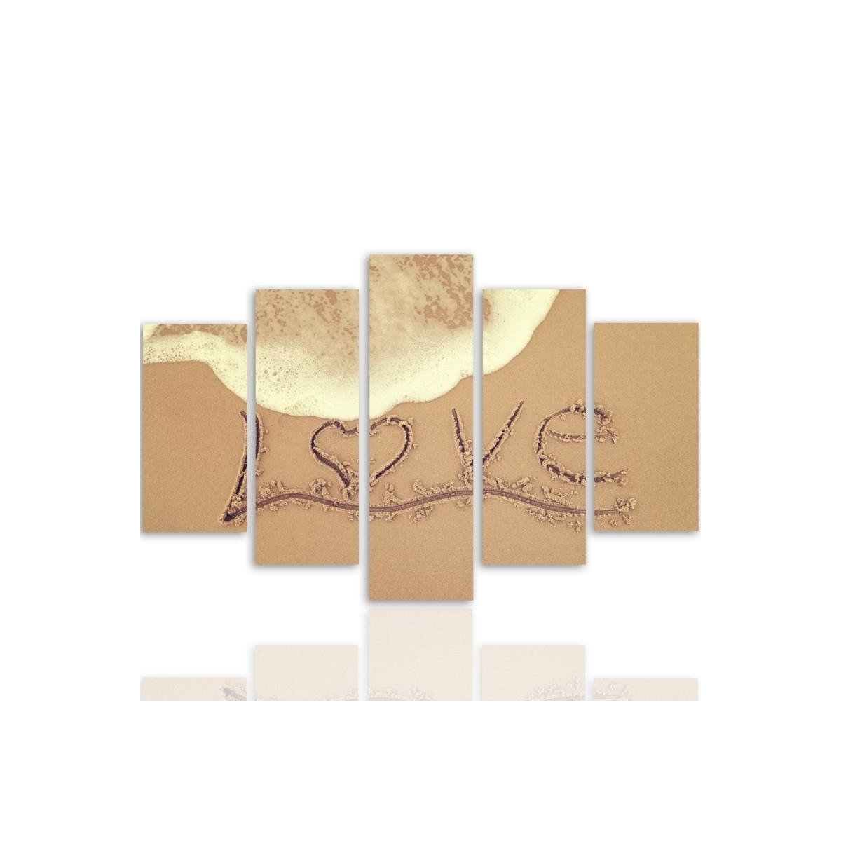 Five Part Picture On Canvas, Pentaptych, Type A, Love In The Sand100x150