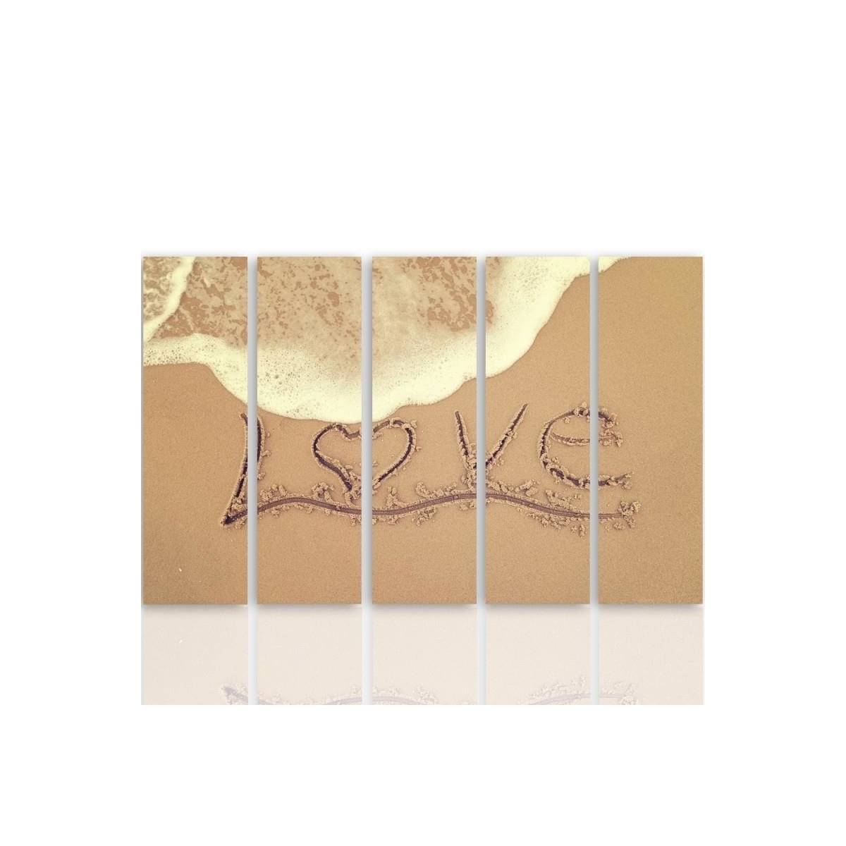 Five Part Picture On Canvas, Pentaptych, Type C, Love In The Sand100x150