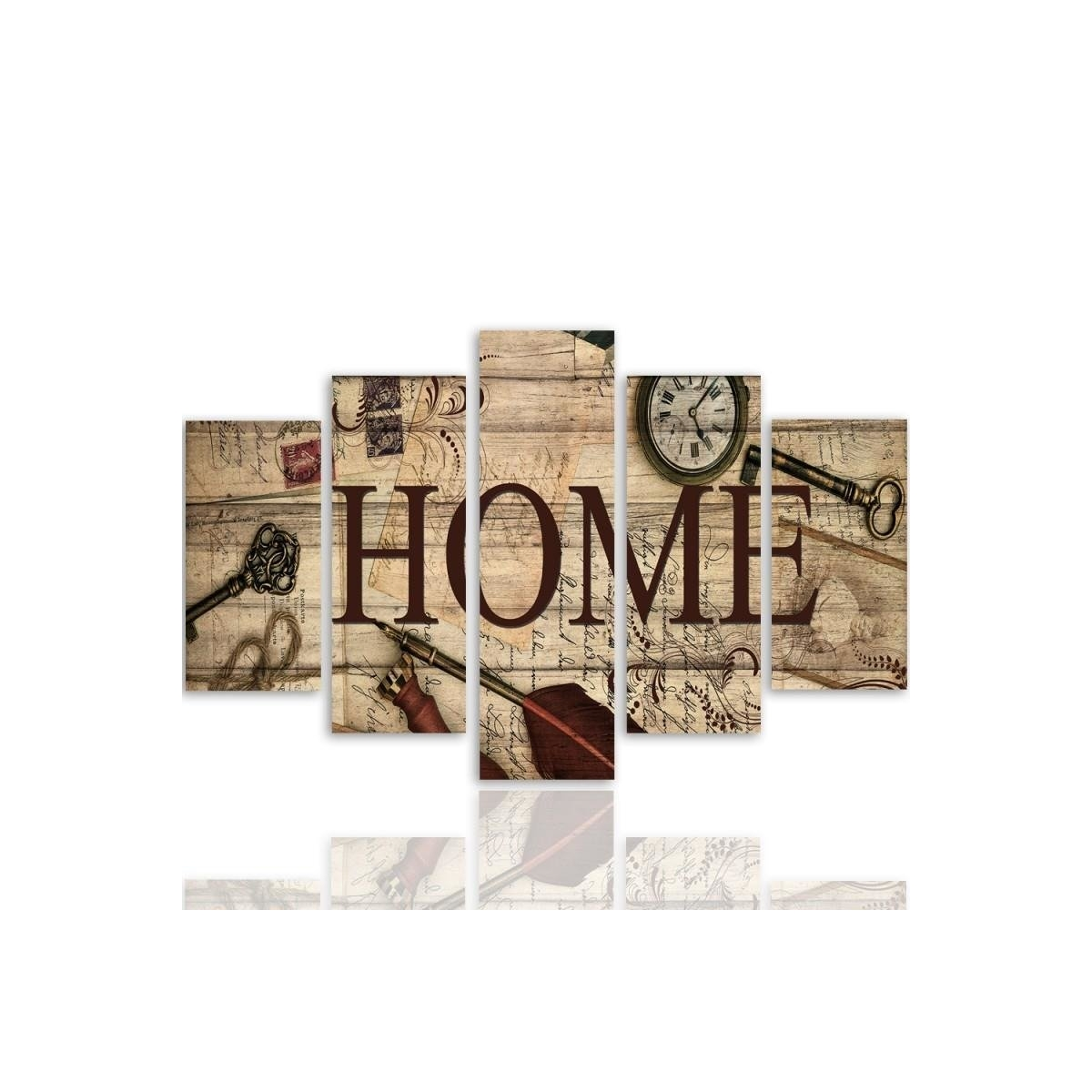 Five Part Picture On Canvas, Pentaptych, Type A, Composition Vintage Home100x150