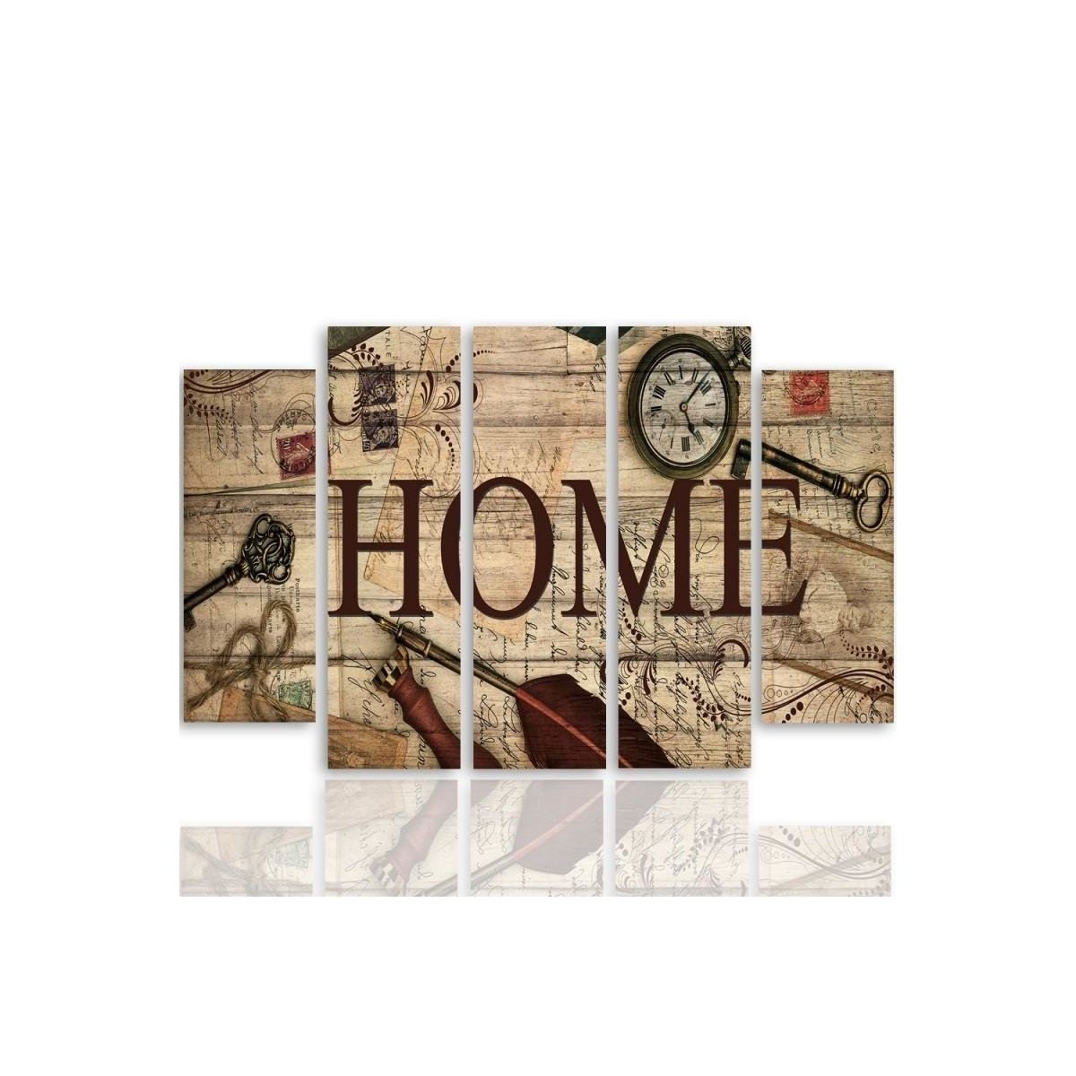 Five Part Picture On Canvas, Pentaptych, Type B, Composition Vintage Home100x150