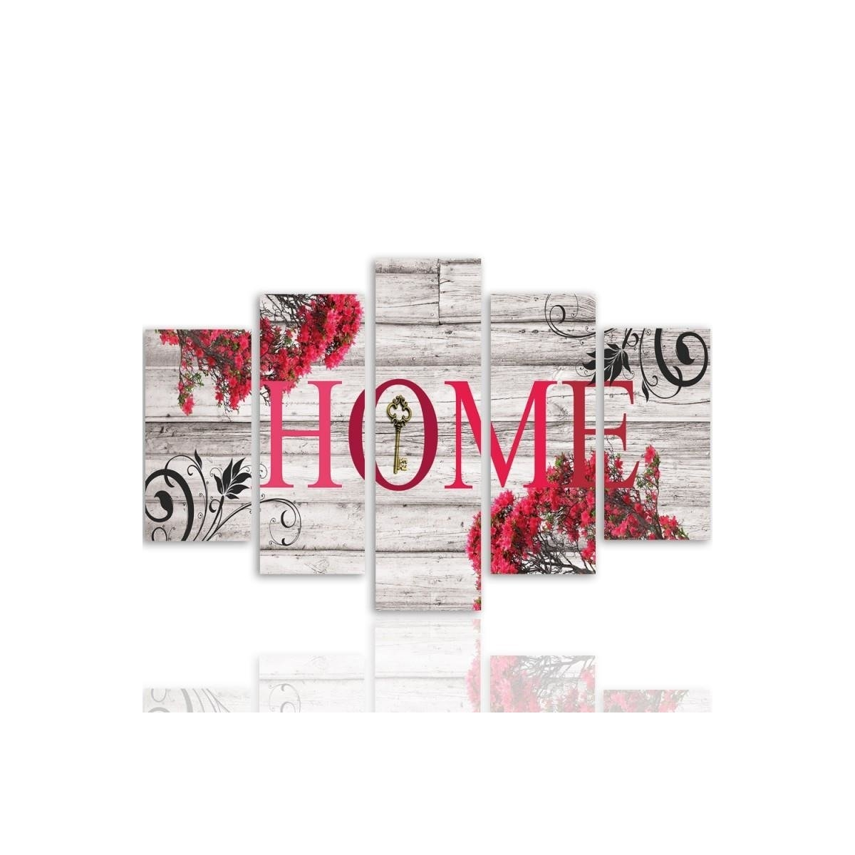 Five Part Picture On Canvas, Pentaptych, Type A, Inscription Home With Flowers 2100x150