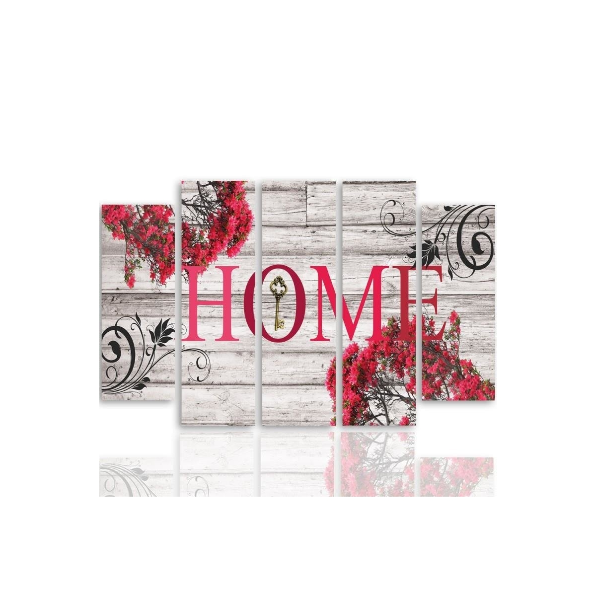 Five Part Picture On Canvas, Pentaptych, Type B, Inscription Home With Flowers 2100x150